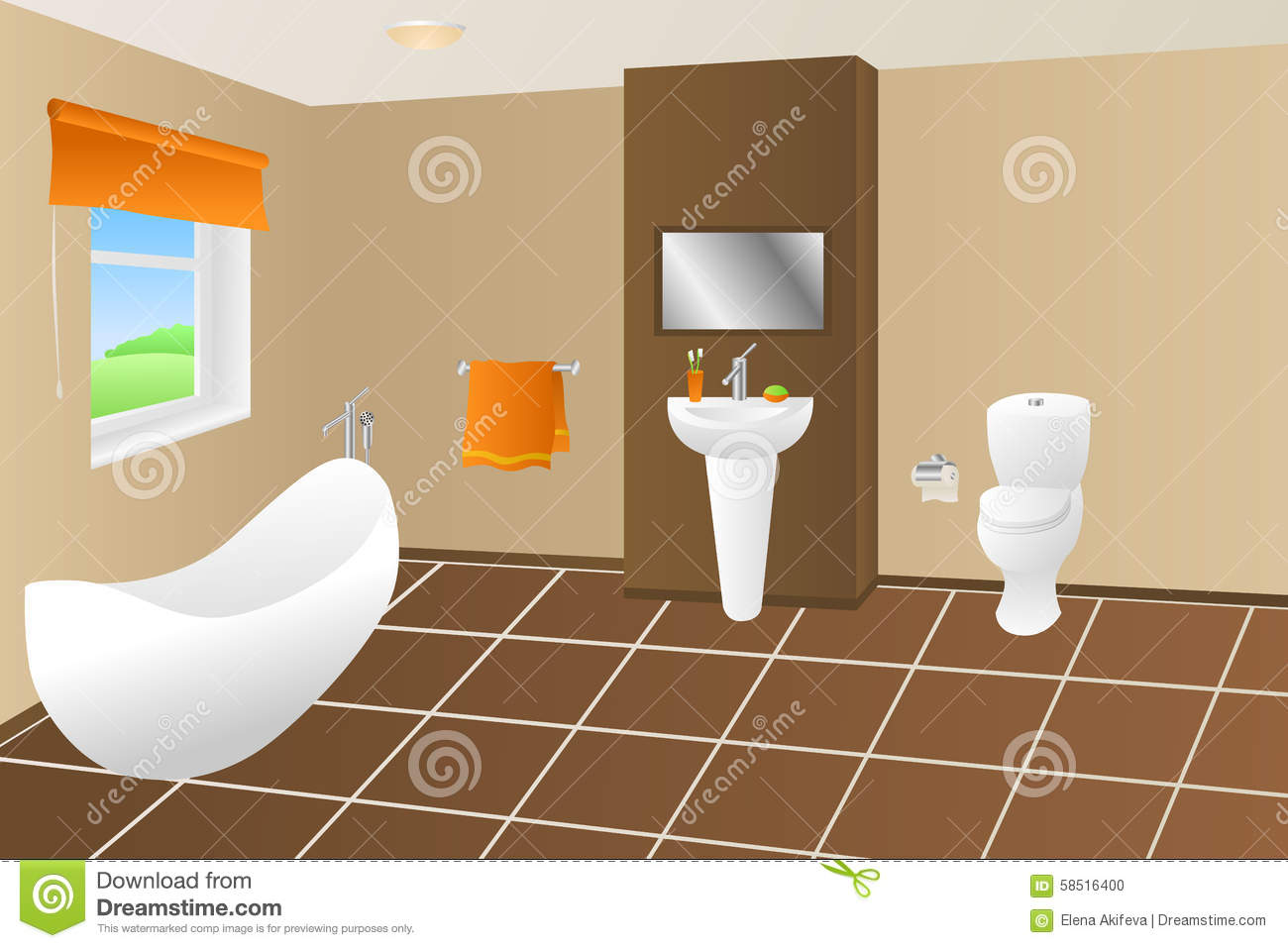 Illustration orange de fen tre de toilette d 39 vier de for Fenetre toilette