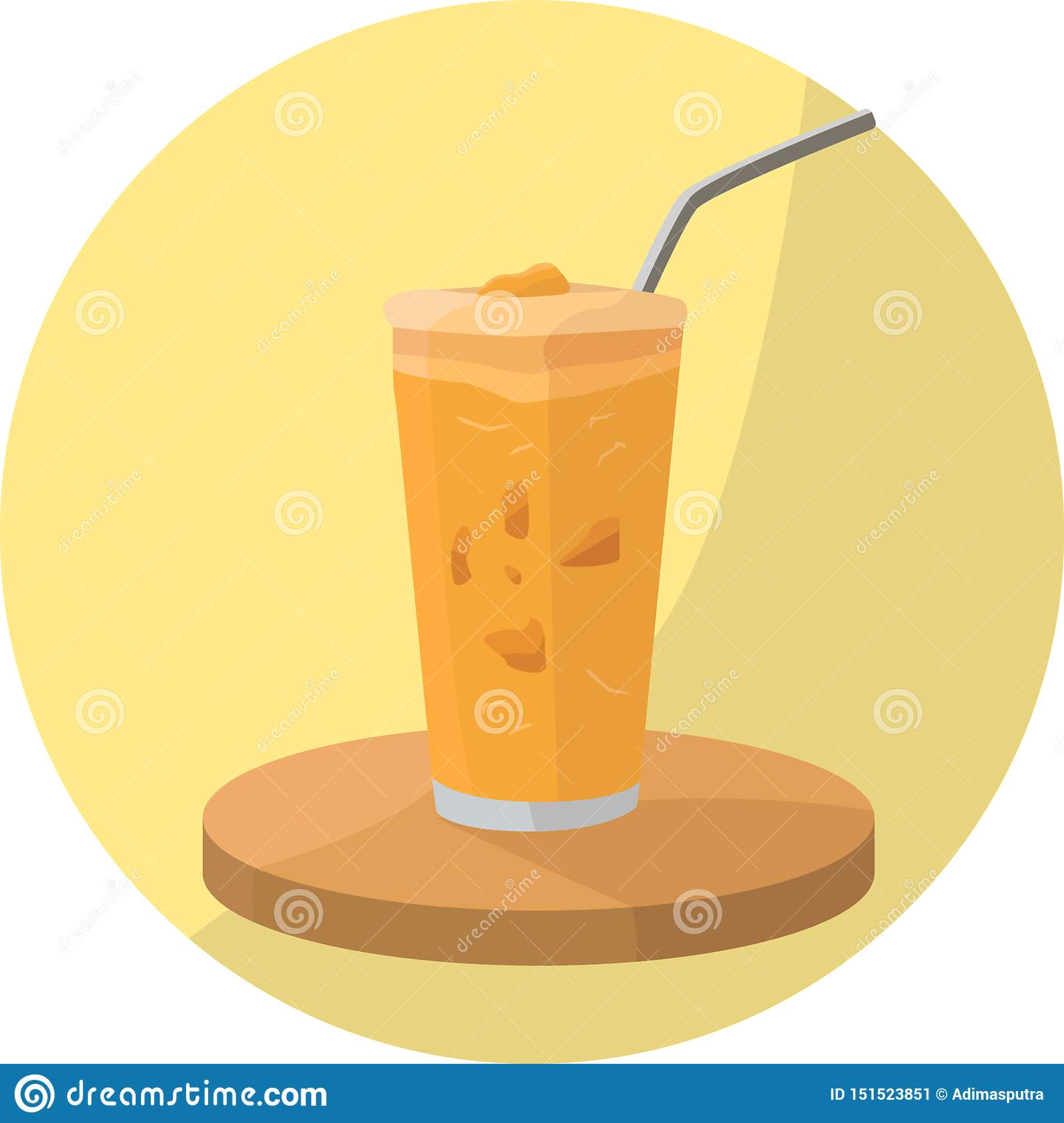 Orange Smoothie Drink with Toppings