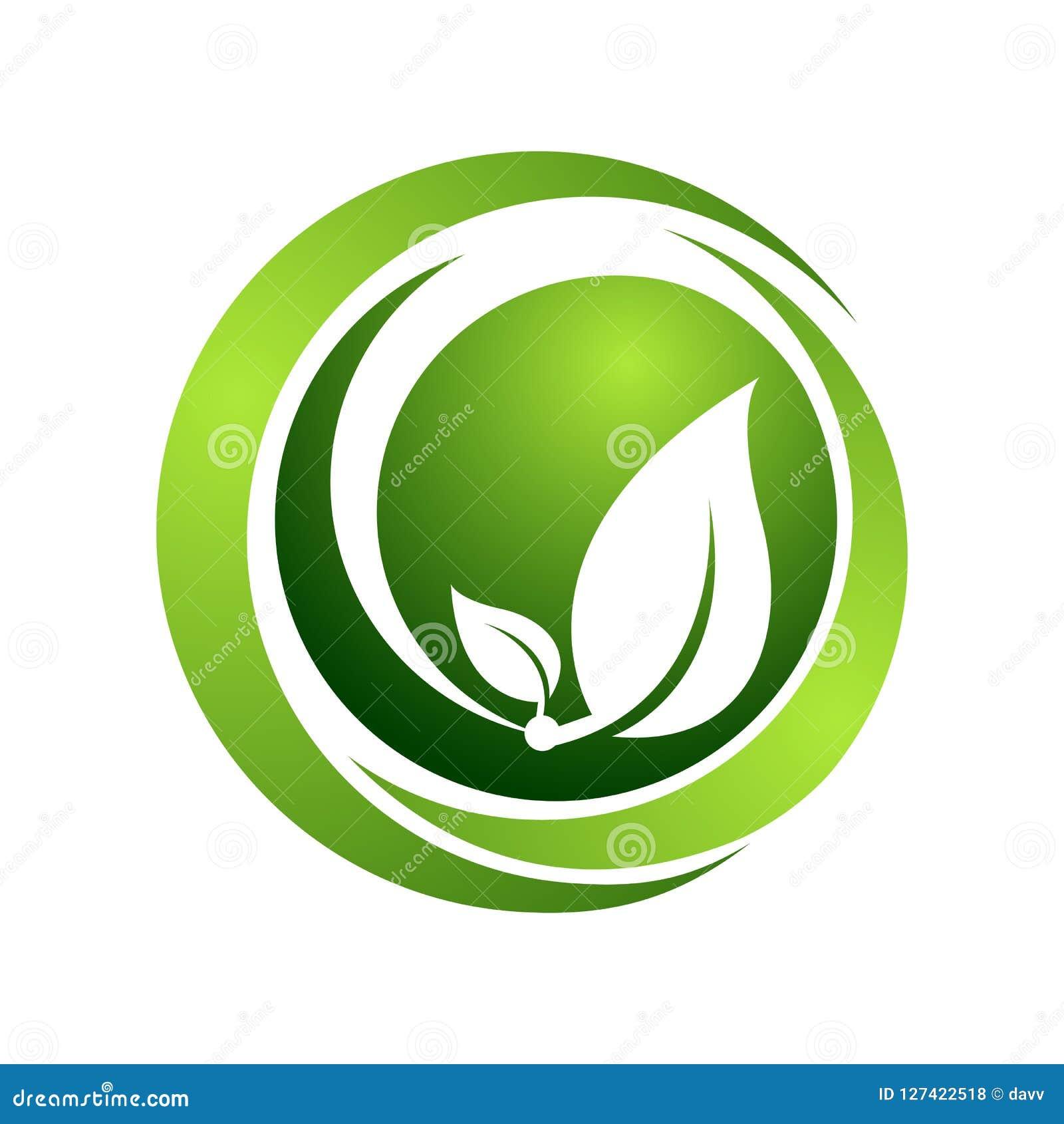 Illustration organique de concept de calibre de logo de vecteur le vert de cercle laisse le signe Signe humain abstrait de caract
