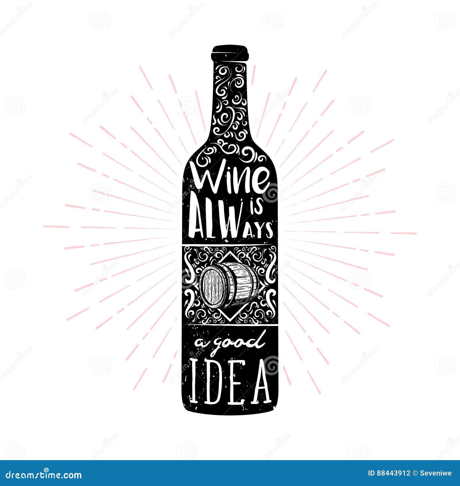 Illustration Orientée De Typographie De Vin Dans Le Style De