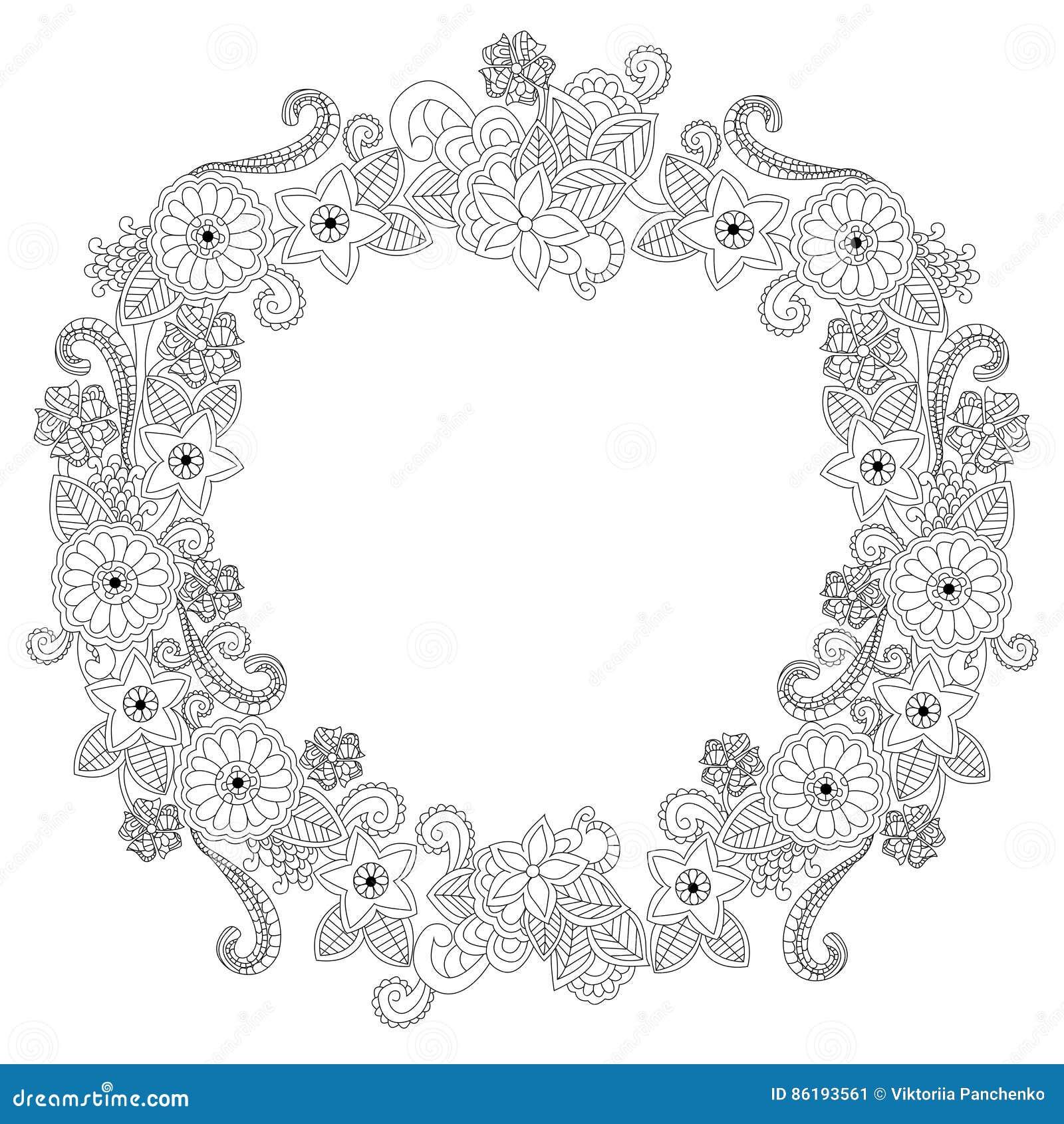 Coloriage Cadre Fleur.Illustration Ovale De Vecteur De Livre De Coloriage De Cadre De