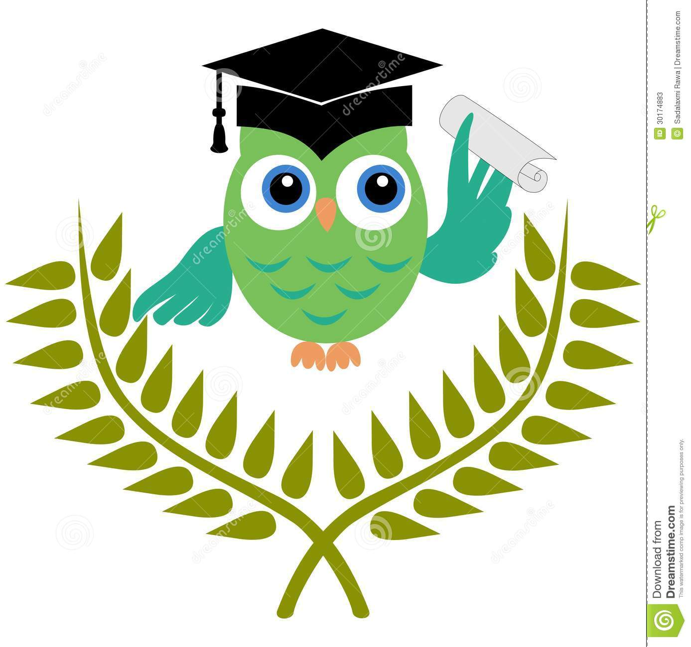 Owl With Graduation Degree Stock Photos - Image: 30174883