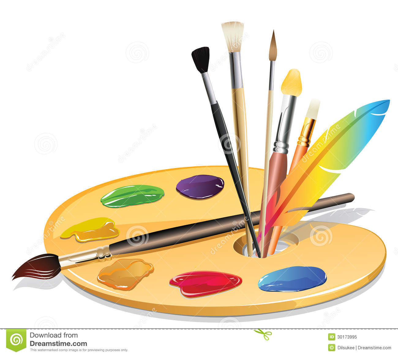 Paintbrush And Pallet Stock Vector Illustration Of Color
