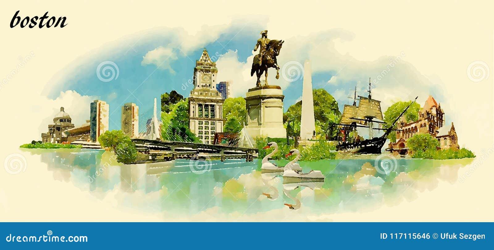 Illustration panoramique de vecteur de couleur d eau de ville de BOSTON