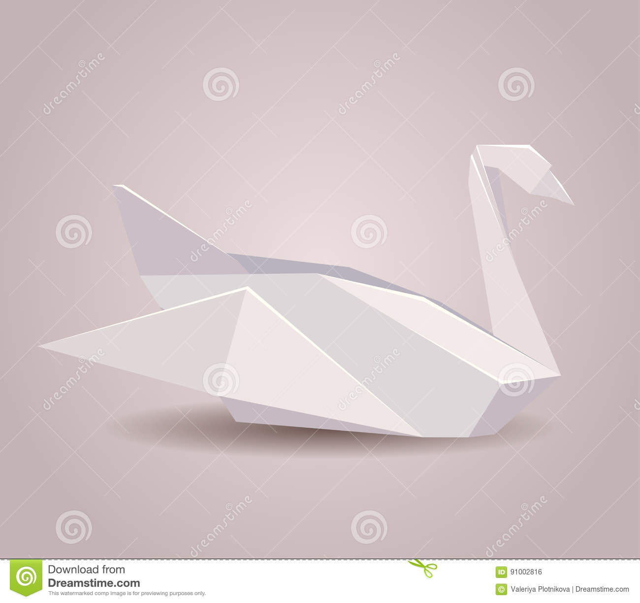 Download Illustration Of A Paper Origami Swan Zoo Stock Vector