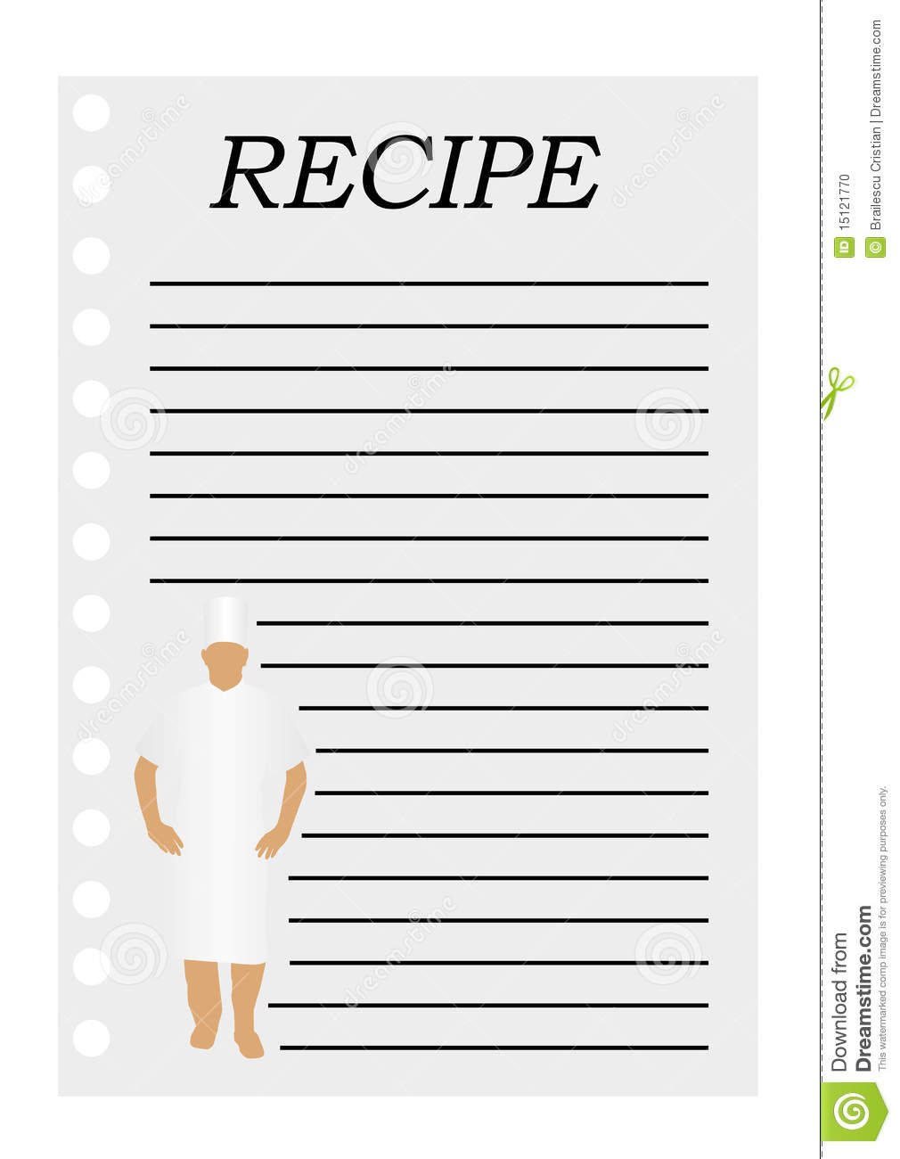 illustration of a paper with text for a recipe stock