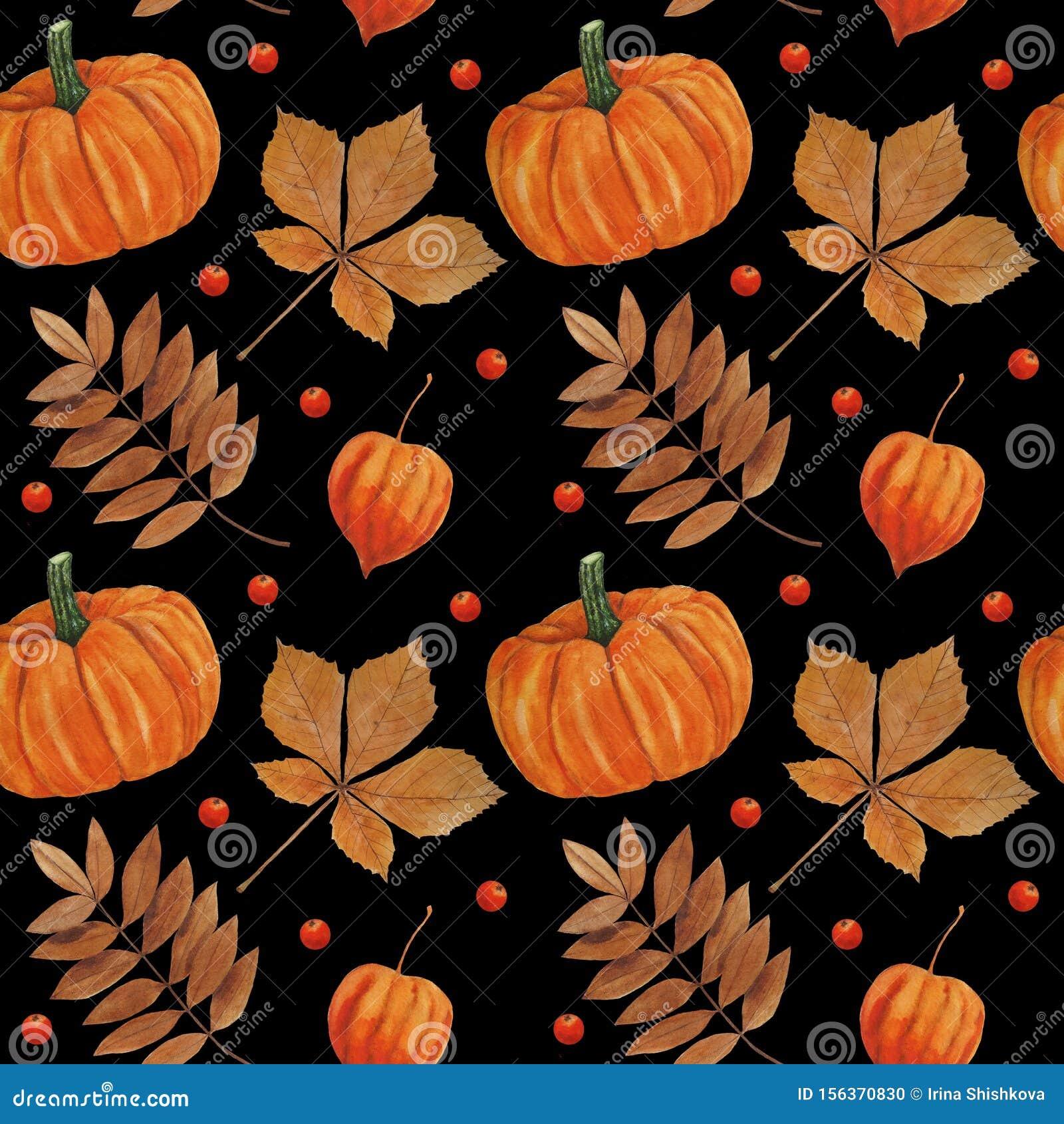 Pattern Autumn Leaves And Pumpkin Illustrations Watercolor Botanical Digital Paper Textile Autumn Autumn Decor Wallpaper Scrapbook Stock Illustration Illustration Of Abstract Brown 156370830