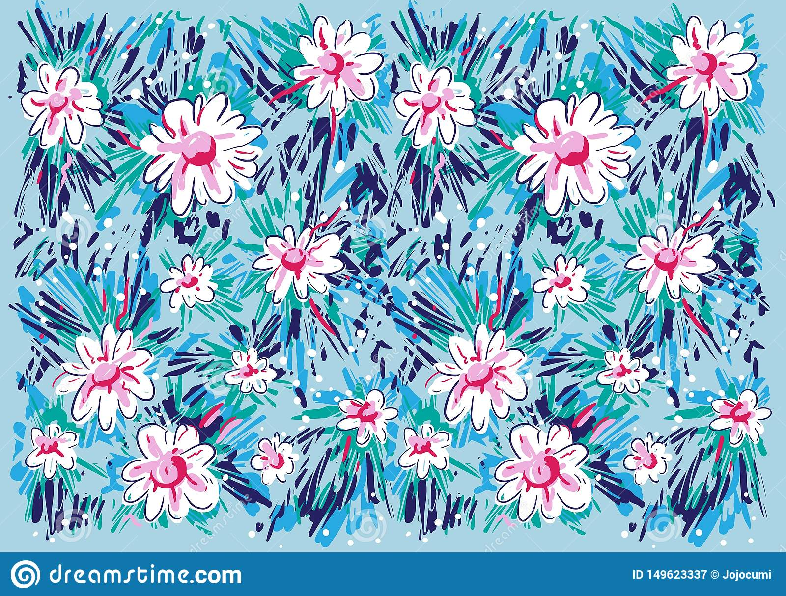 Abstract Flower Painting Pattern
