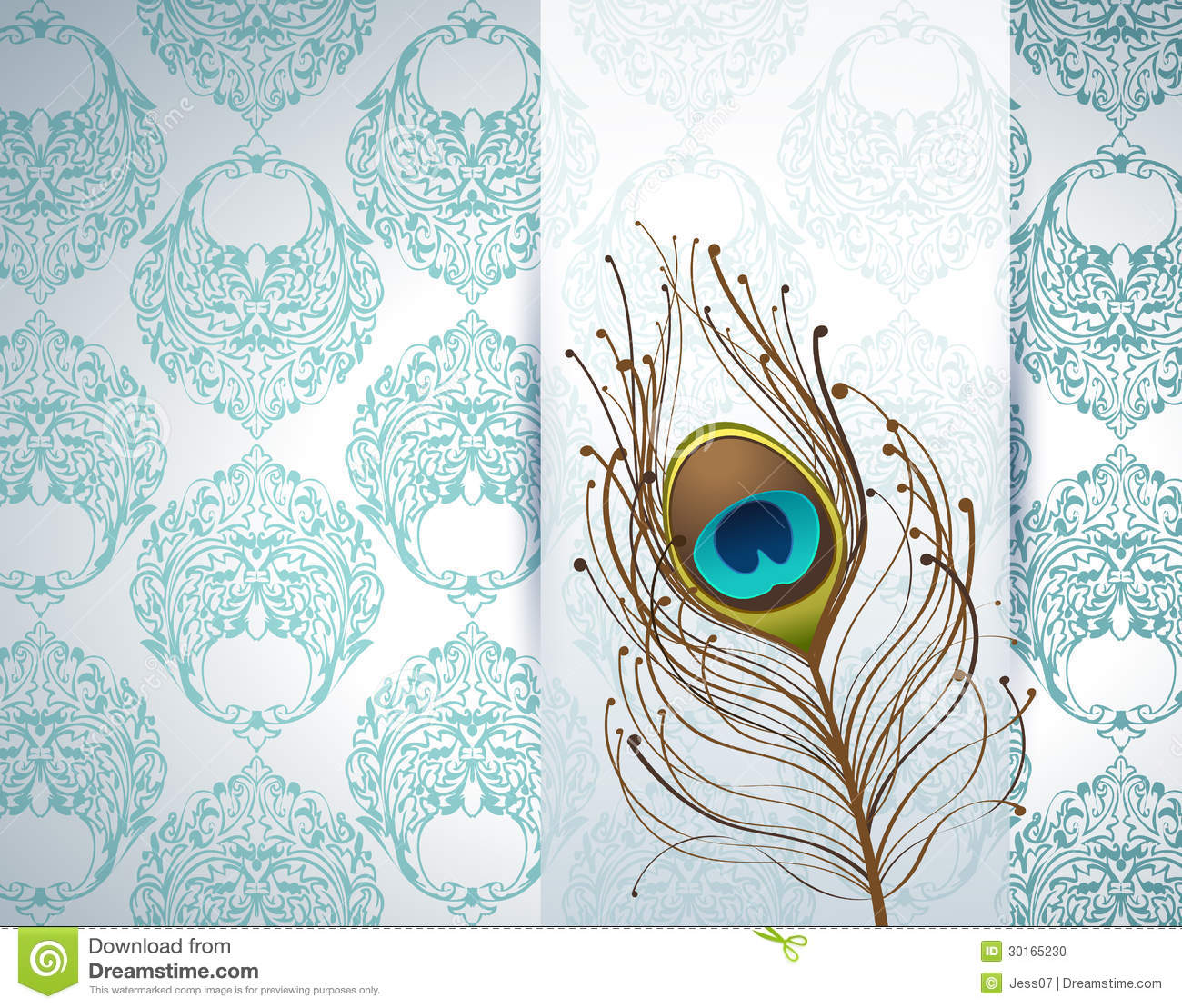 Peacock Feather Ornamental Wallpaper Stock Illustrations 382