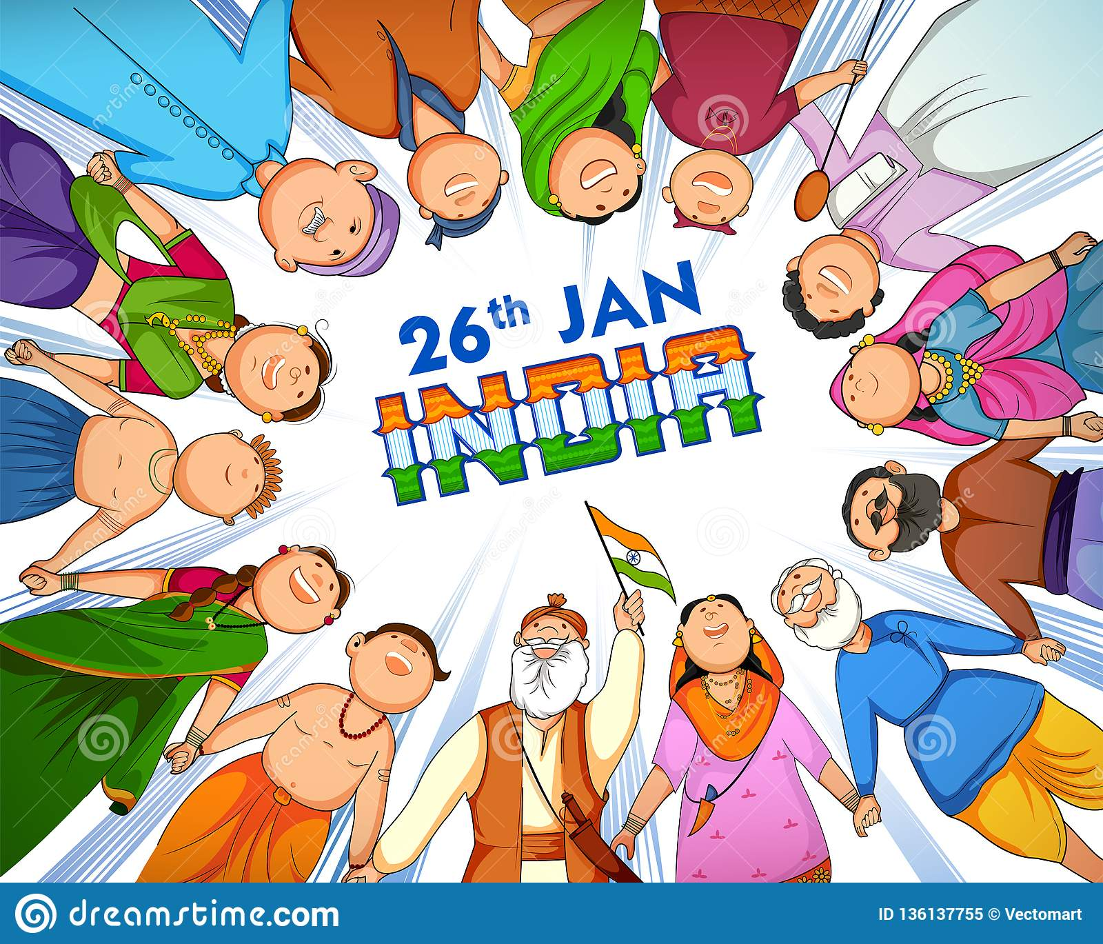 People Of Different Religion Showing Unity In Diversity On Happy Republic Day Of India Stock Vector Illustration Of Muslim Indian 136137755 Happy republic day images 2021 muslim