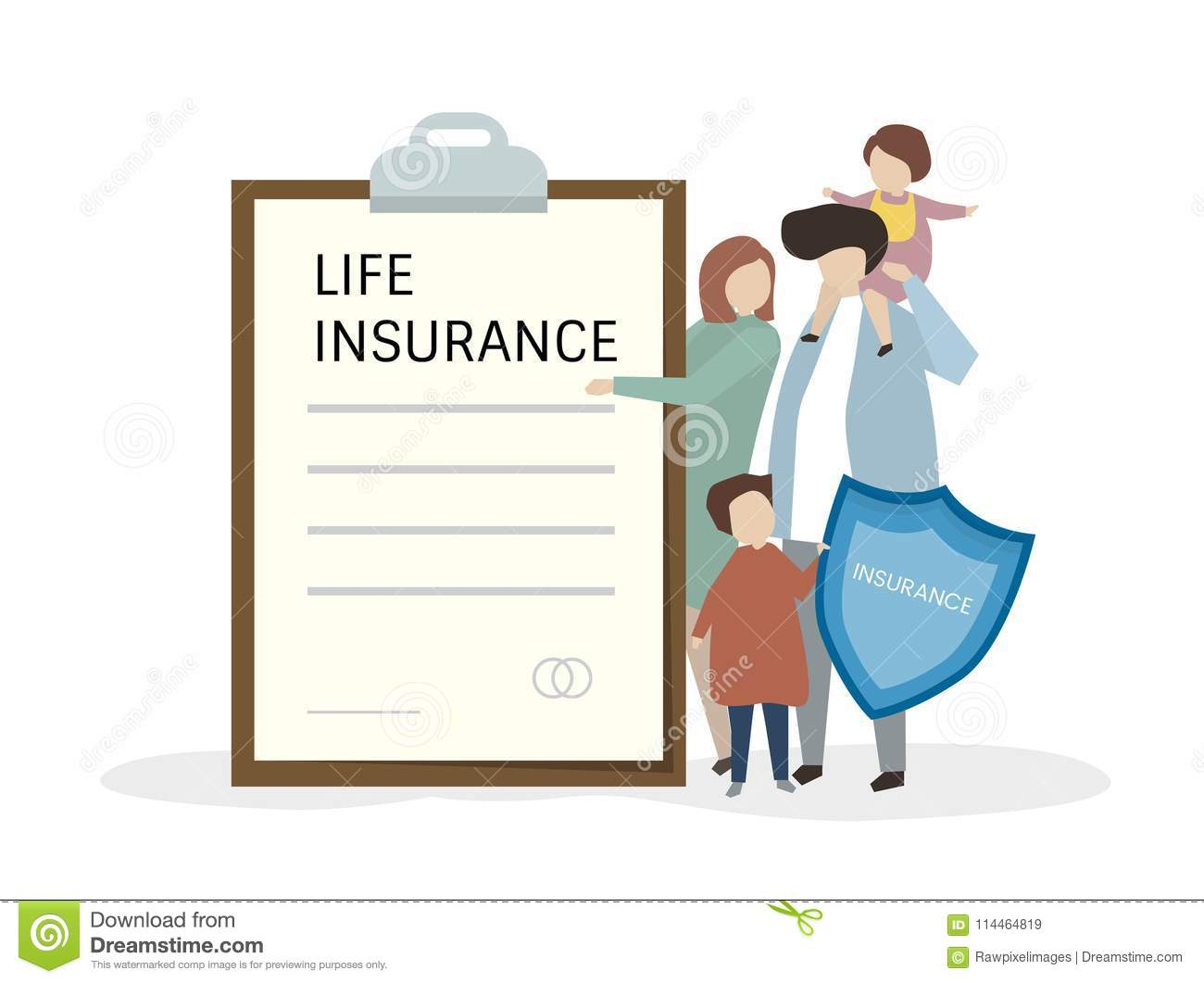 Illustration Of People With Life Insurance Stock Illustration