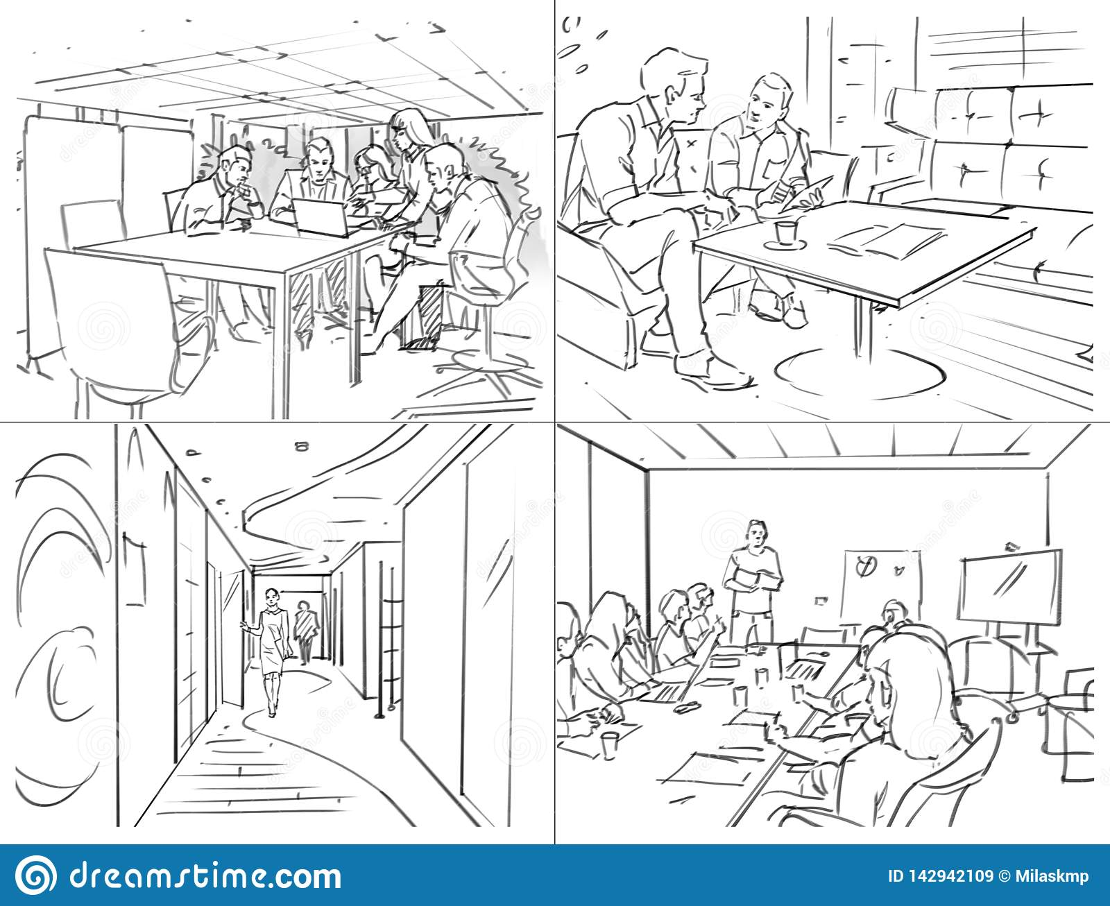 Storyboard with office life