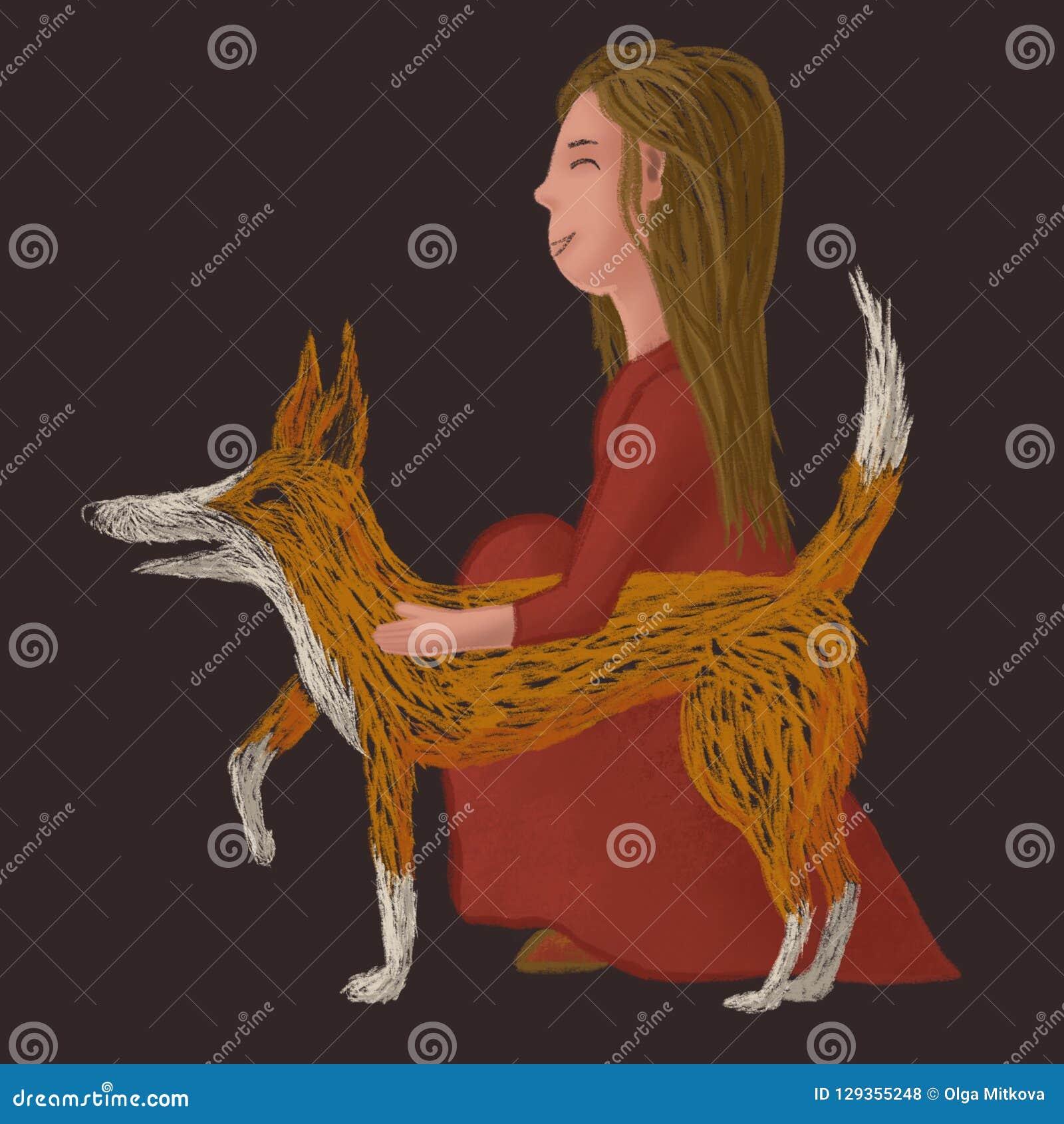 Illustration peu précise de Digital d un chien rouge avec une fille dans la robe rouge