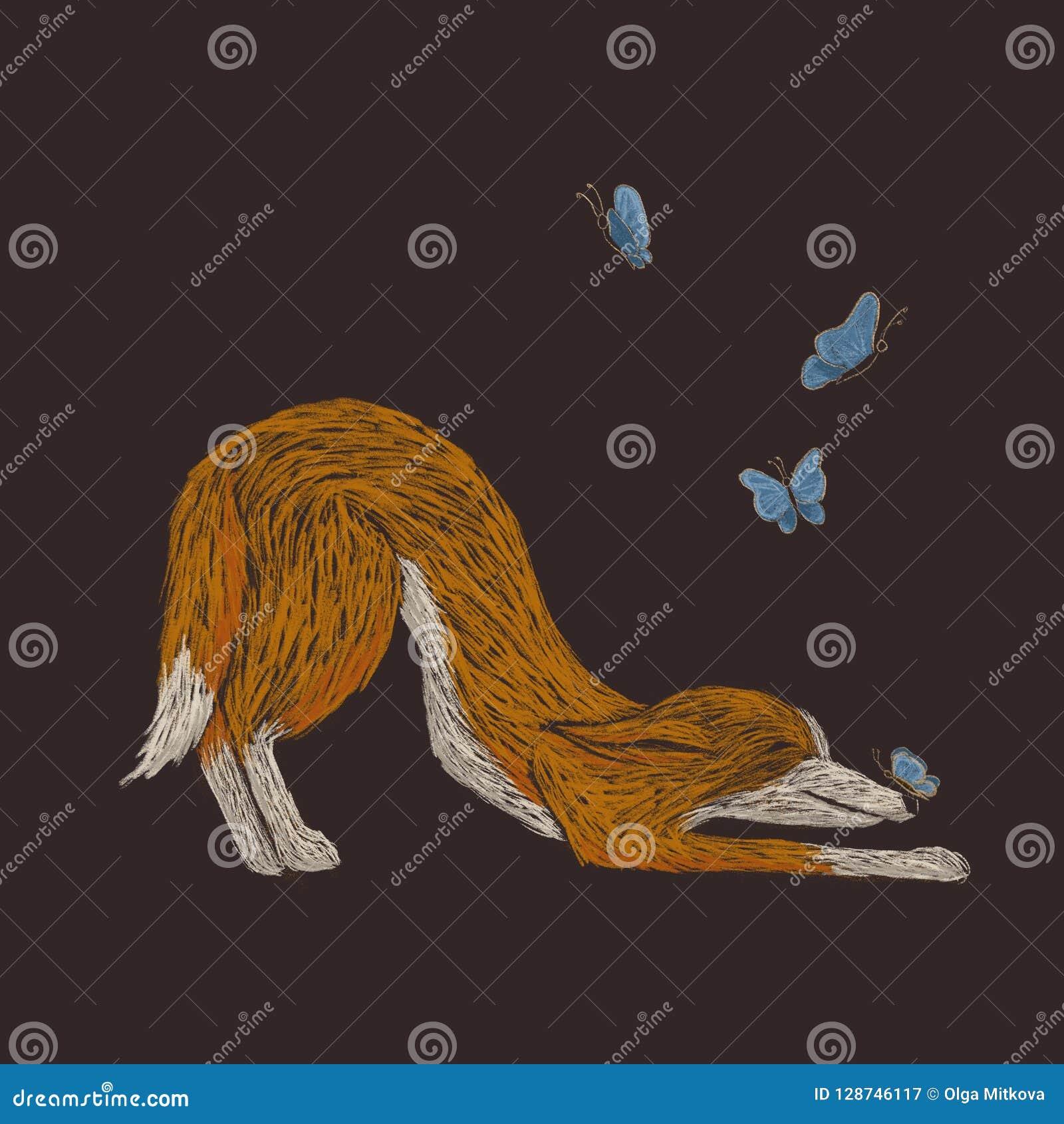 Illustration peu précise de Digital d un chien rouge jouant avec des butterfies
