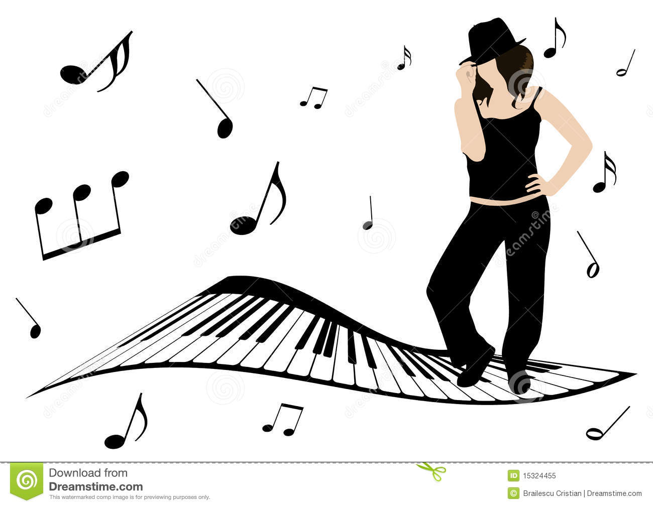 illustration of a piano  music notes and girl sing stock singing clipart images signing clip art