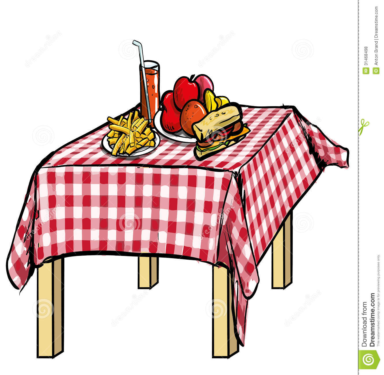 Illustration Of A Picnic Table With Food On It Royalty Free Stock ...