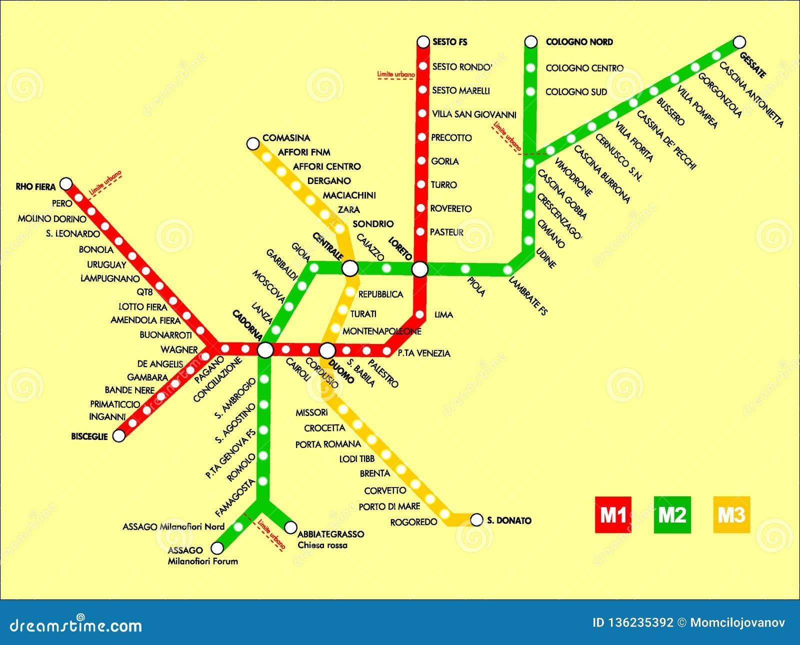 Milan Subway Map.Illustration Picture Of A Milan Metro Map Stock Vector