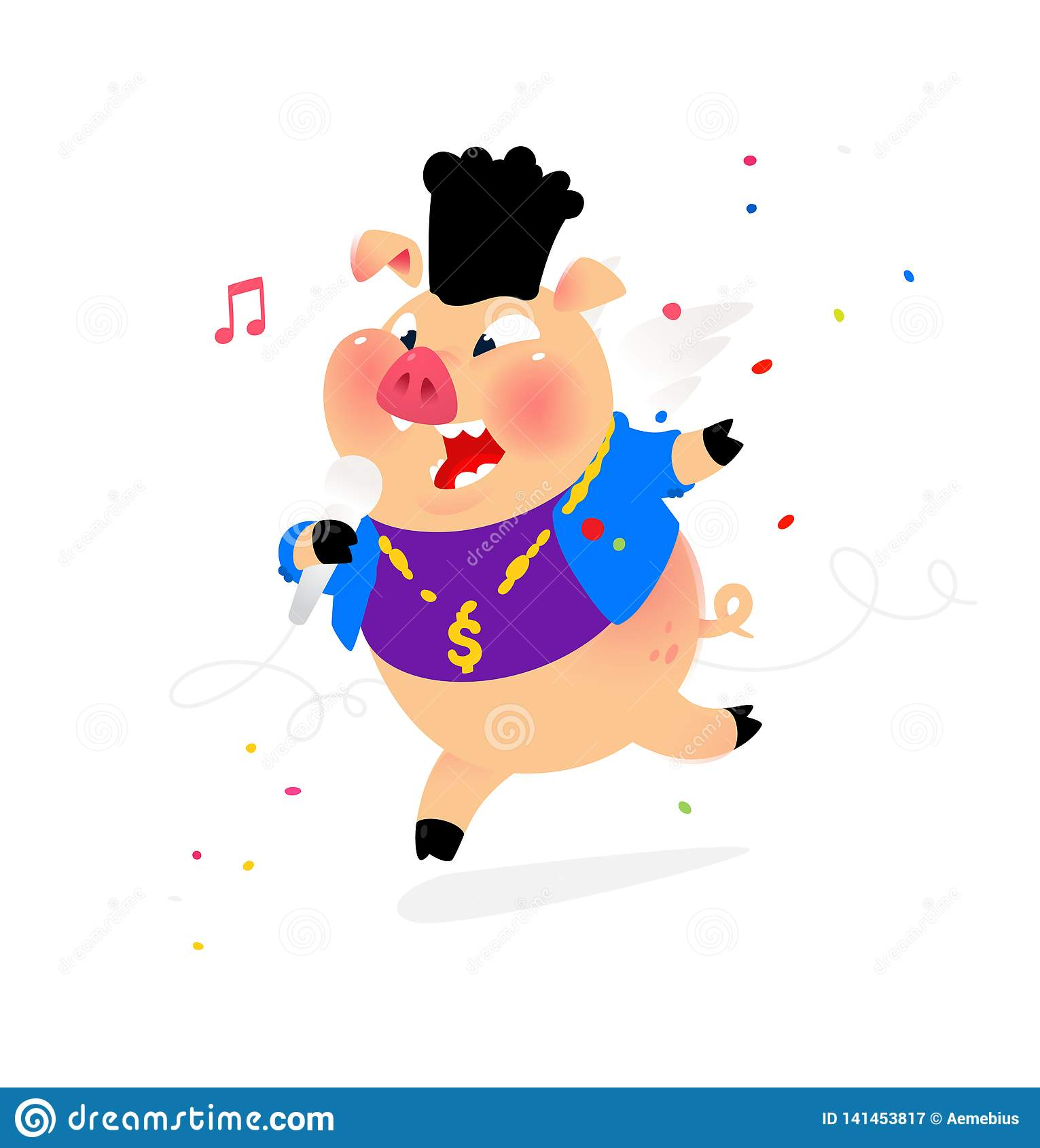Illustration Of A Pig With A Microphone  Vector  Hip-hop