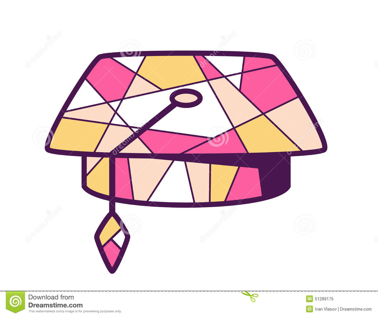 Colour Line Art Design : Illustration of pink and yellow graduation cap on light b