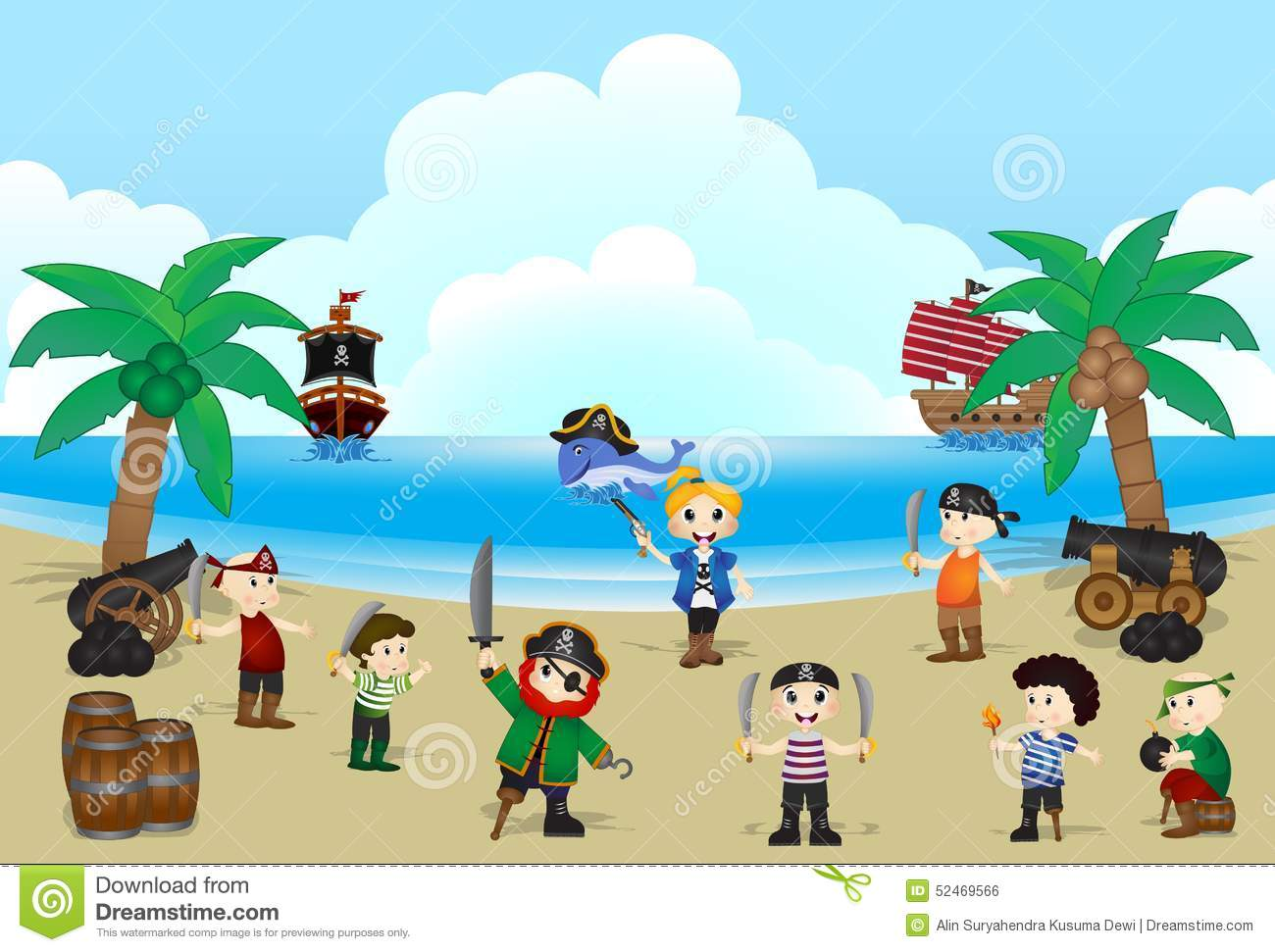 Pirates kids on the beach with background ocean, ship and whale.