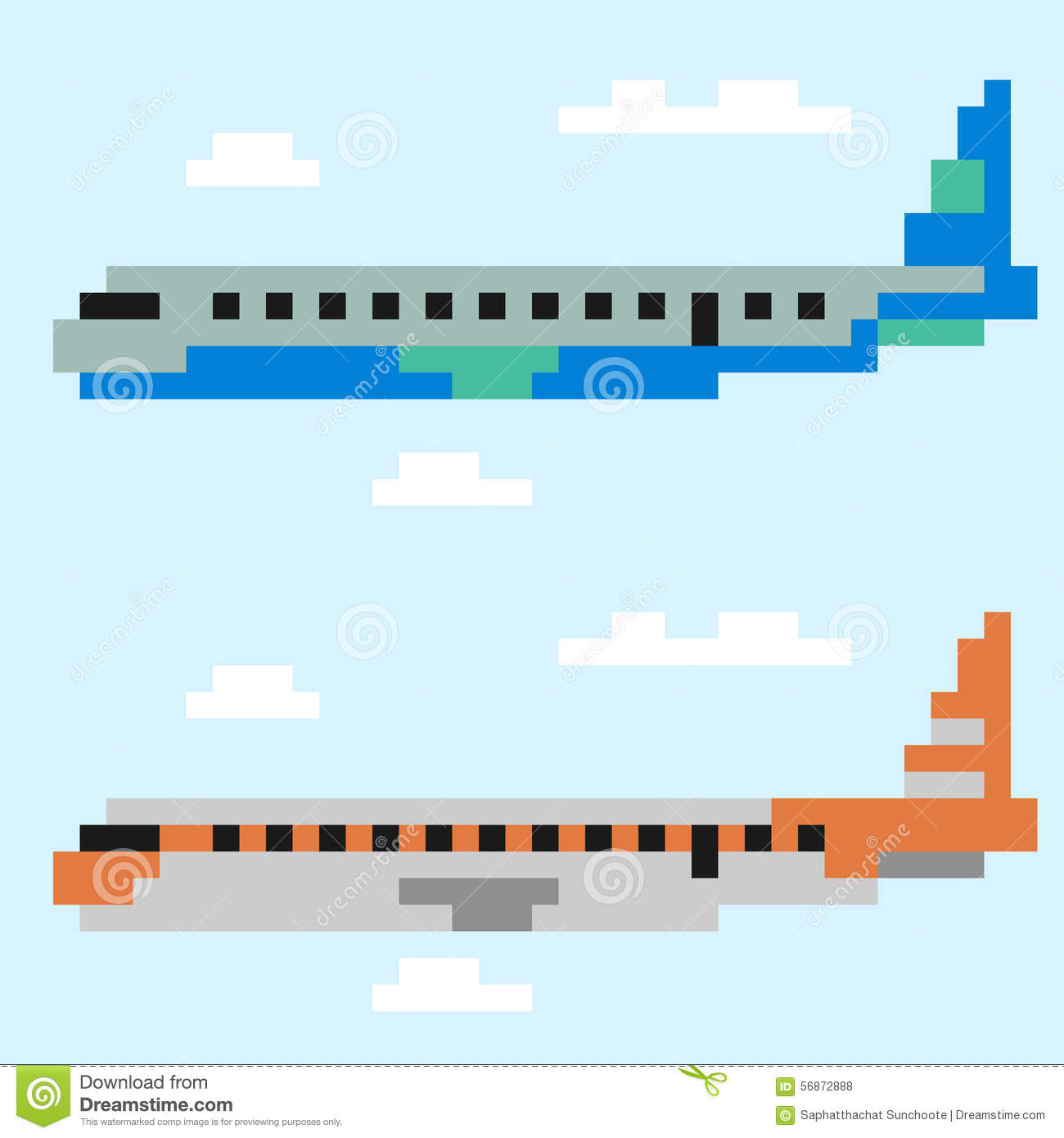 Illustration Pixel Art Airplane Stock Vector Illustration
