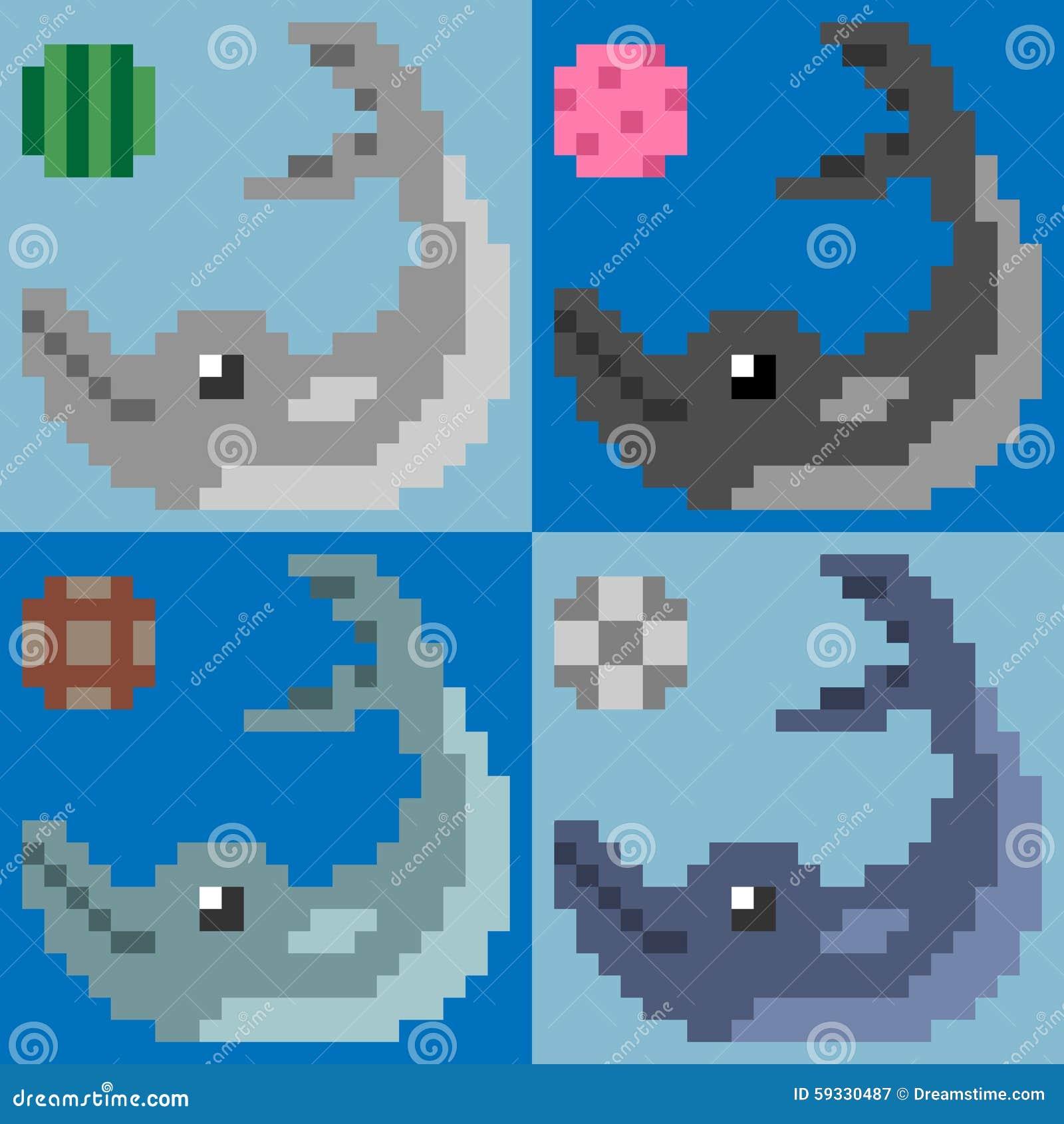 Illustration Pixel Art Dolphin Stock Vector Illustration