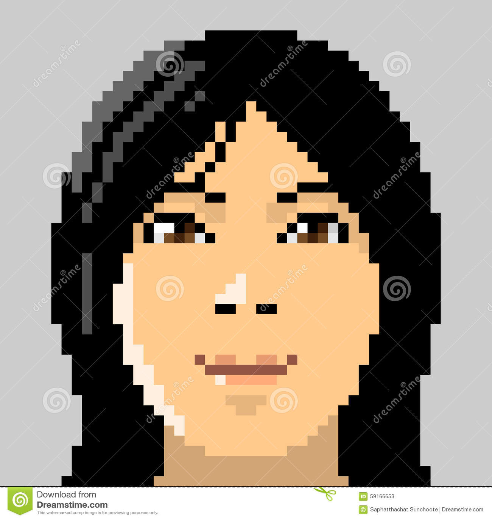 Illustration Pixel Art Human Face Stock Vector