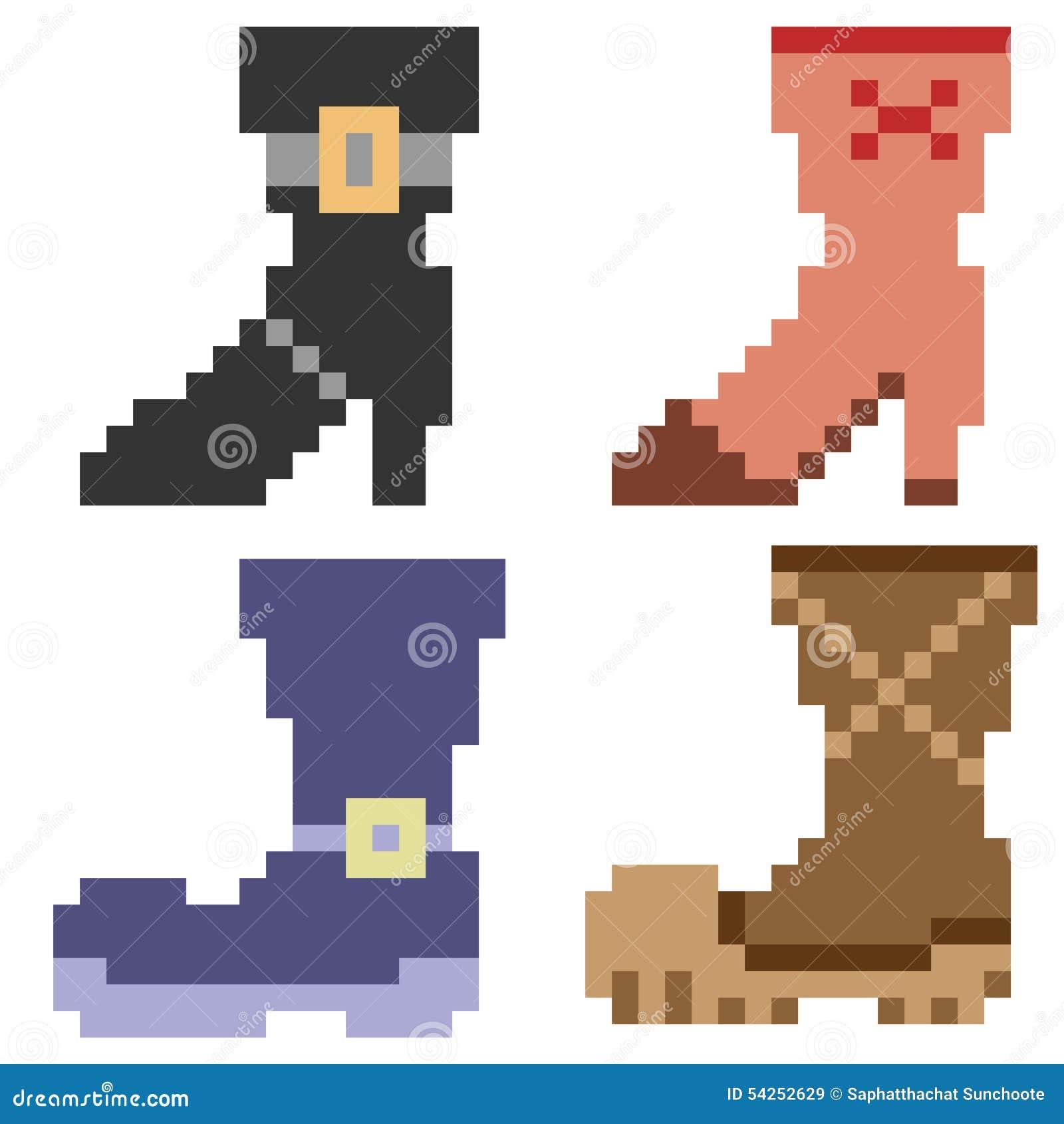 Illustration Pixel Art Icon Boots Stock Vector