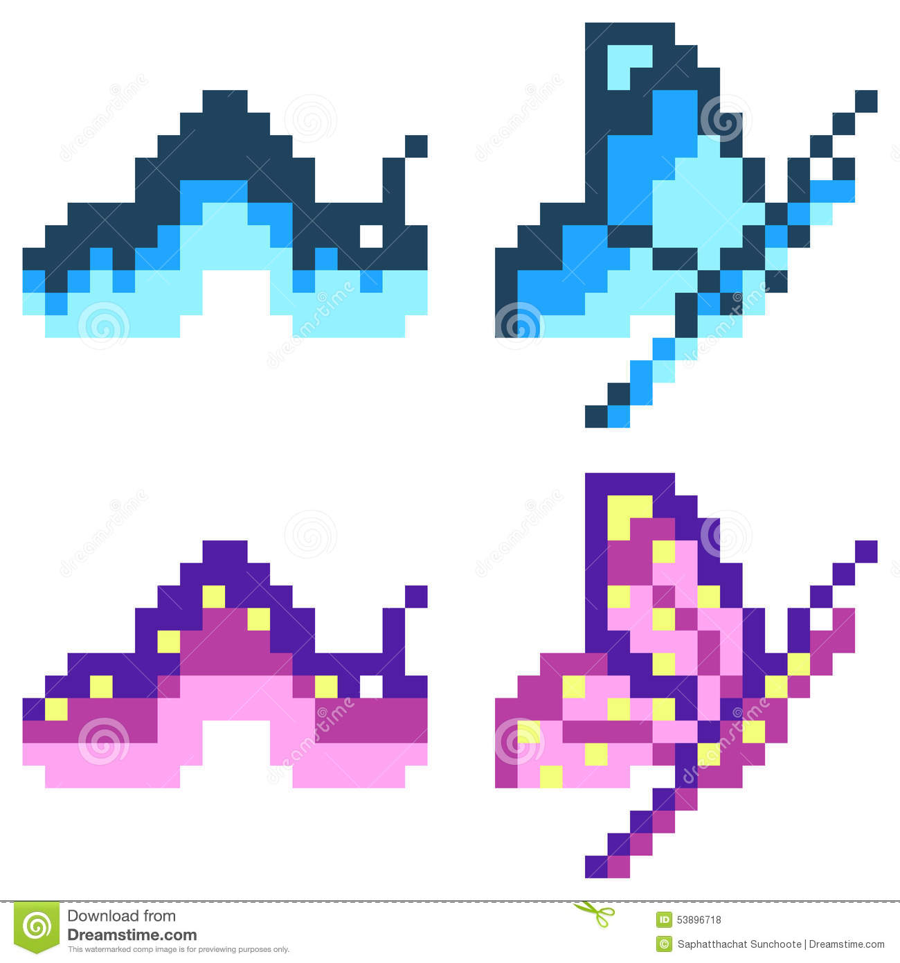 Illustration Pixel Art Icon Butterfly Stock Vector