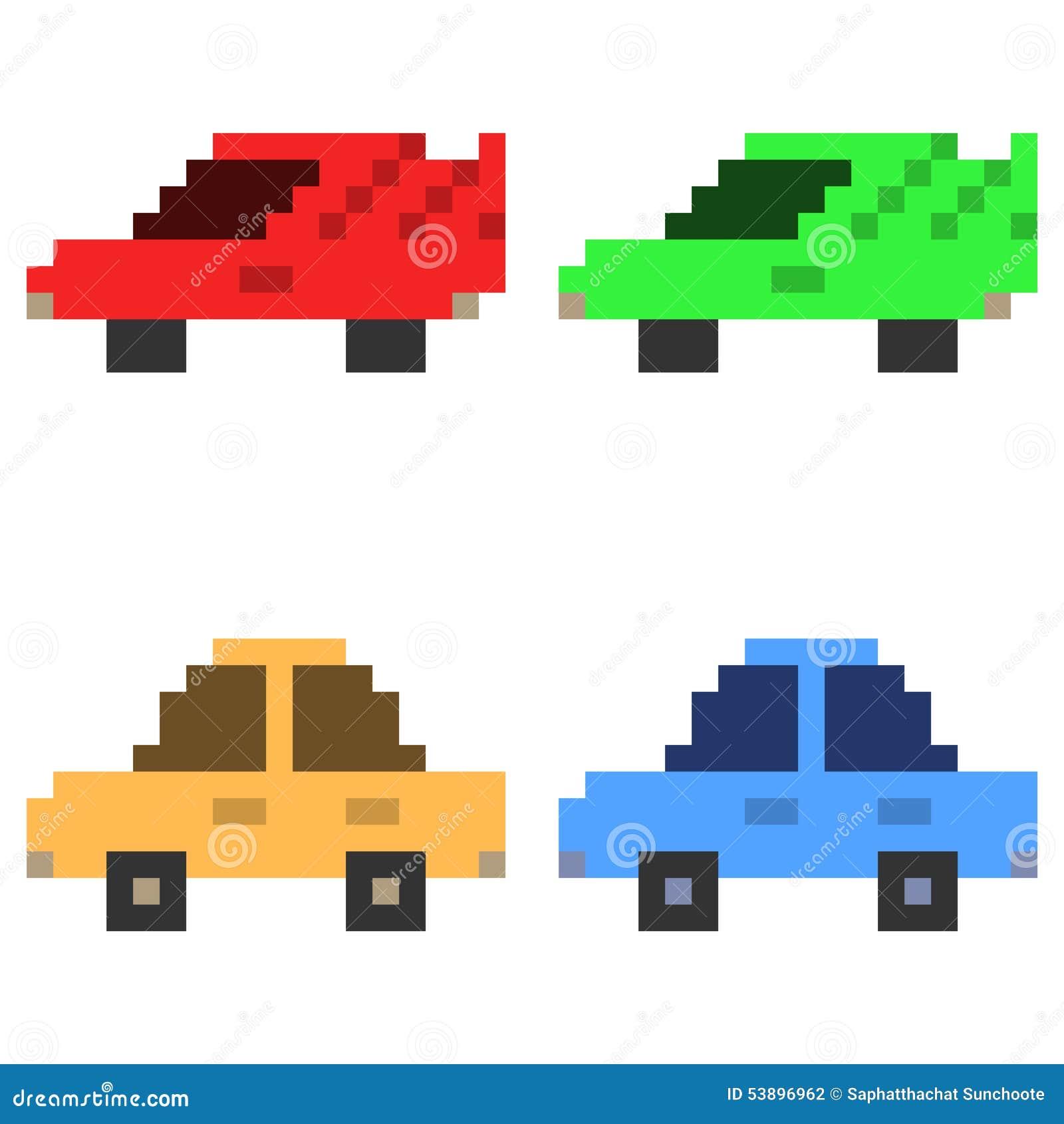 Illustration Pixel Art Icon Car Stock Vector Illustration