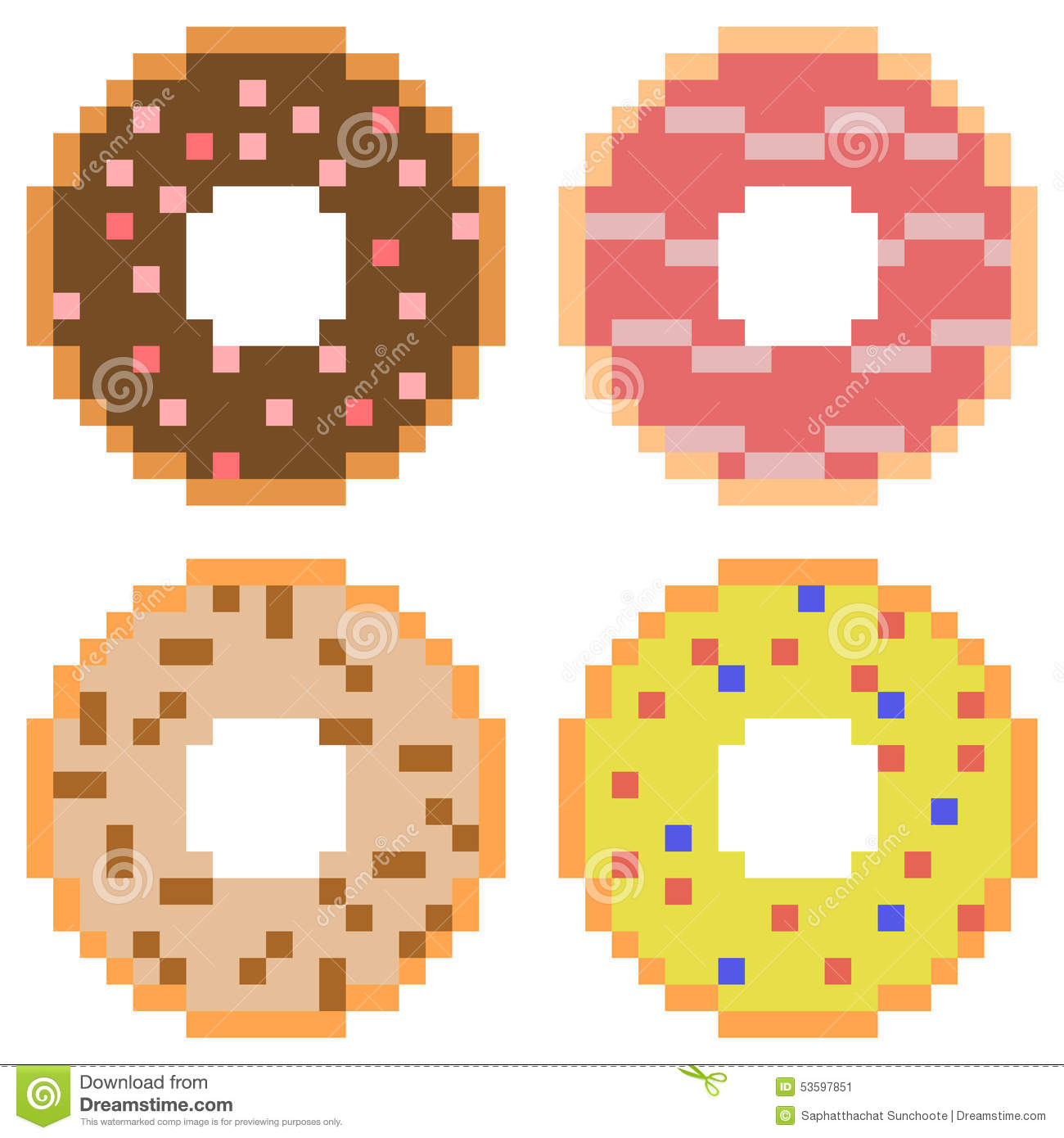 Illustration Pixel Art Icon Donut Illustration 53597851