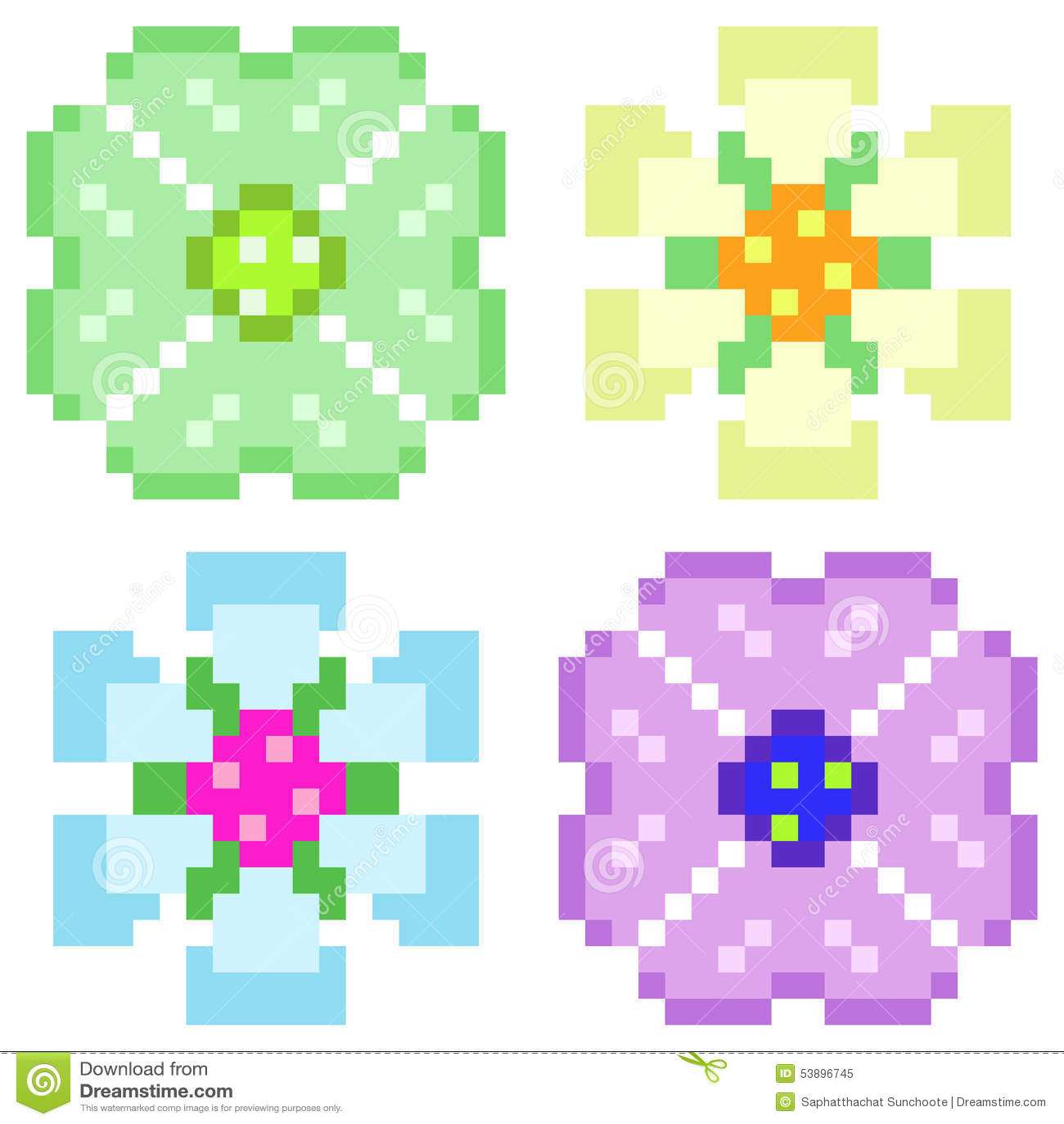 Illustration Pixel Art Icon Flower Stock Vector