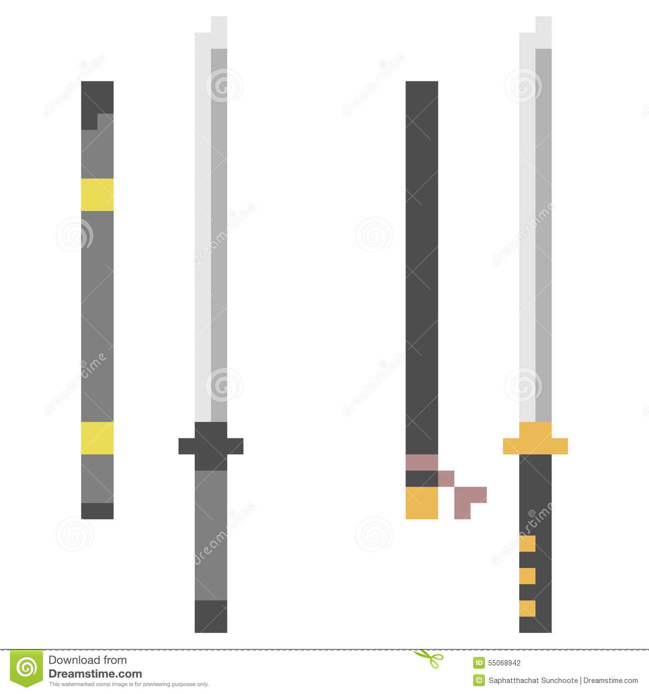 Illustration Pixel Art Icon Katana Stock Vector