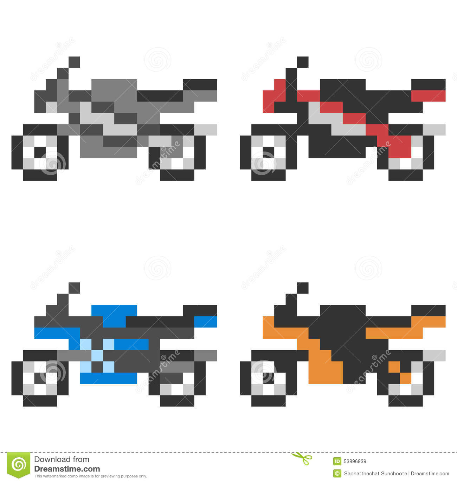 Illustration Pixel Art Icon Motorcycle Stock Vector - Illustration of square, motorcycle: 53896839
