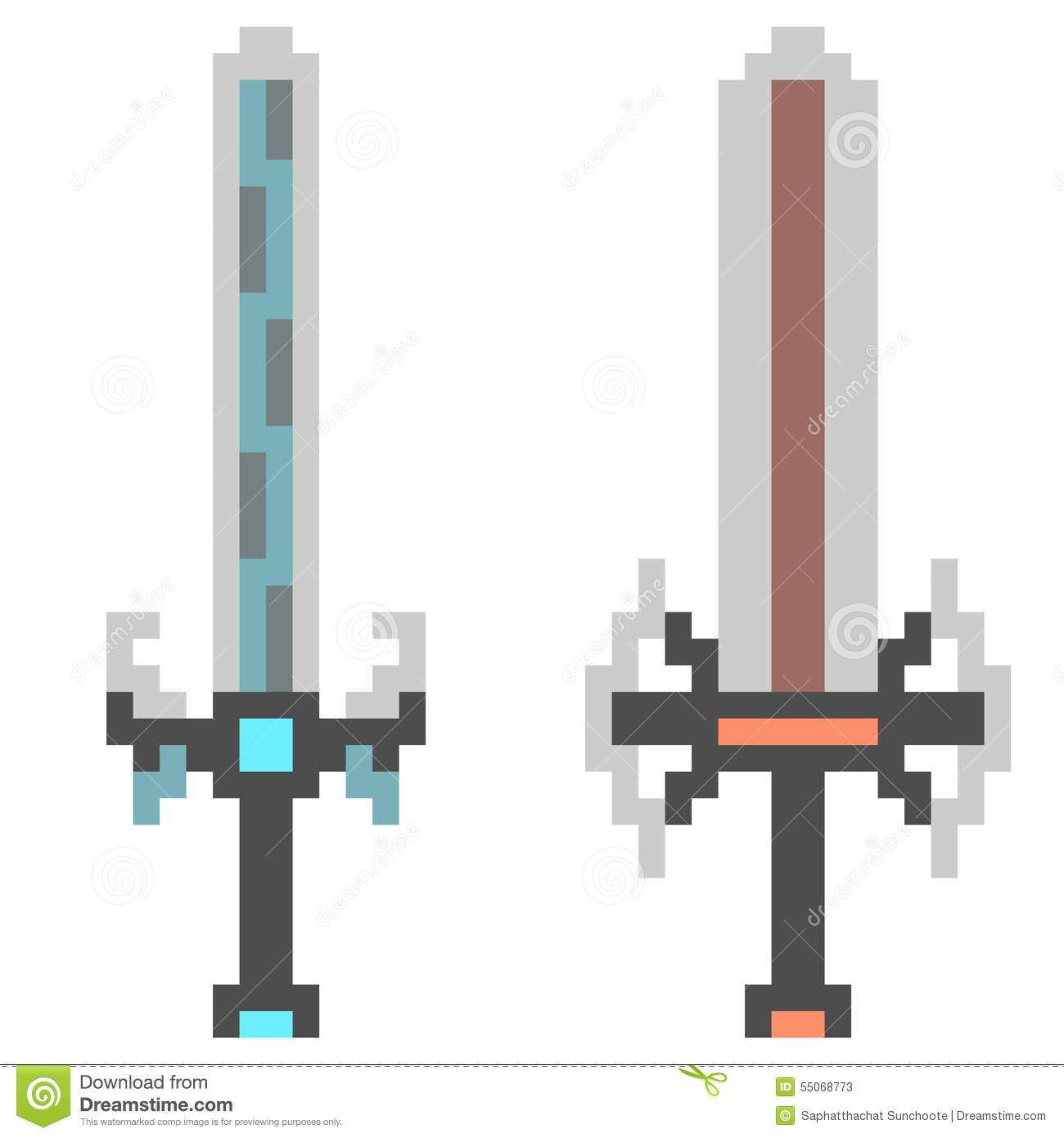 Illustration Pixel Art Icon Sword Fantasy Stock Vector