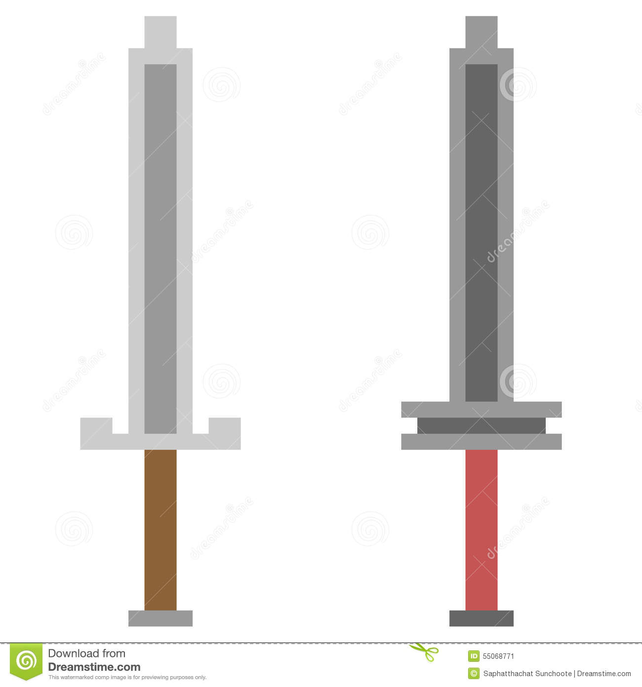 Illustration Pixel Art Icon Sword Stock Vector