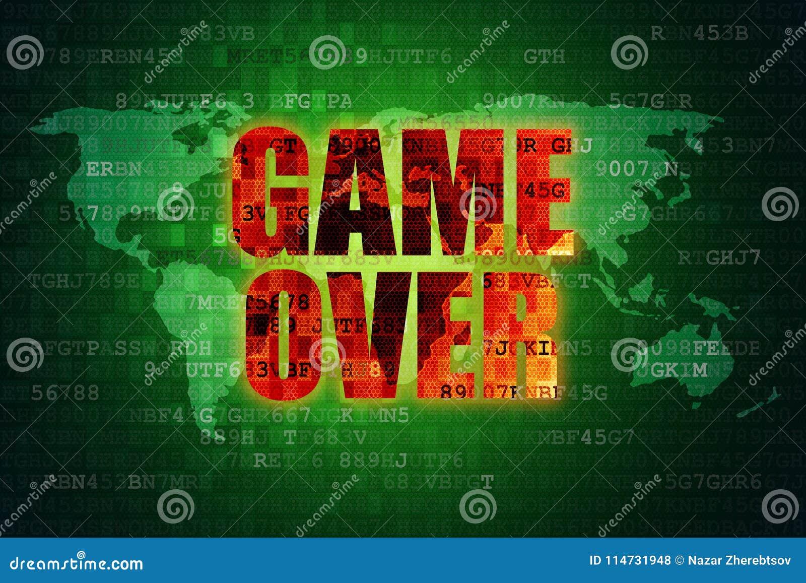 Illustration of pixel red game over screen on green digital world download illustration of pixel red game over screen on green digital world map background stock illustration gumiabroncs Gallery