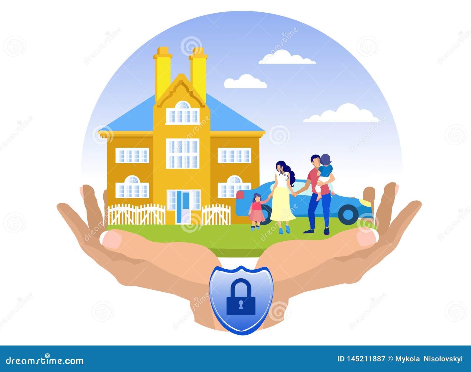Illustration plate d assurance-accidents de propriété