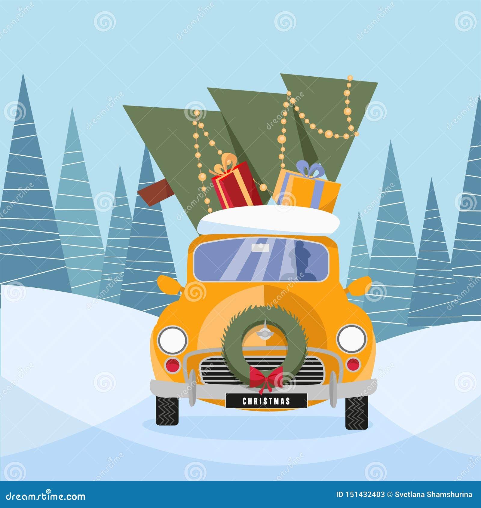 Illustration plate de bande dessinée de vecteur de rétro voiture avec des présents et d arbre de Noël sur le dessus Peu cadeau de