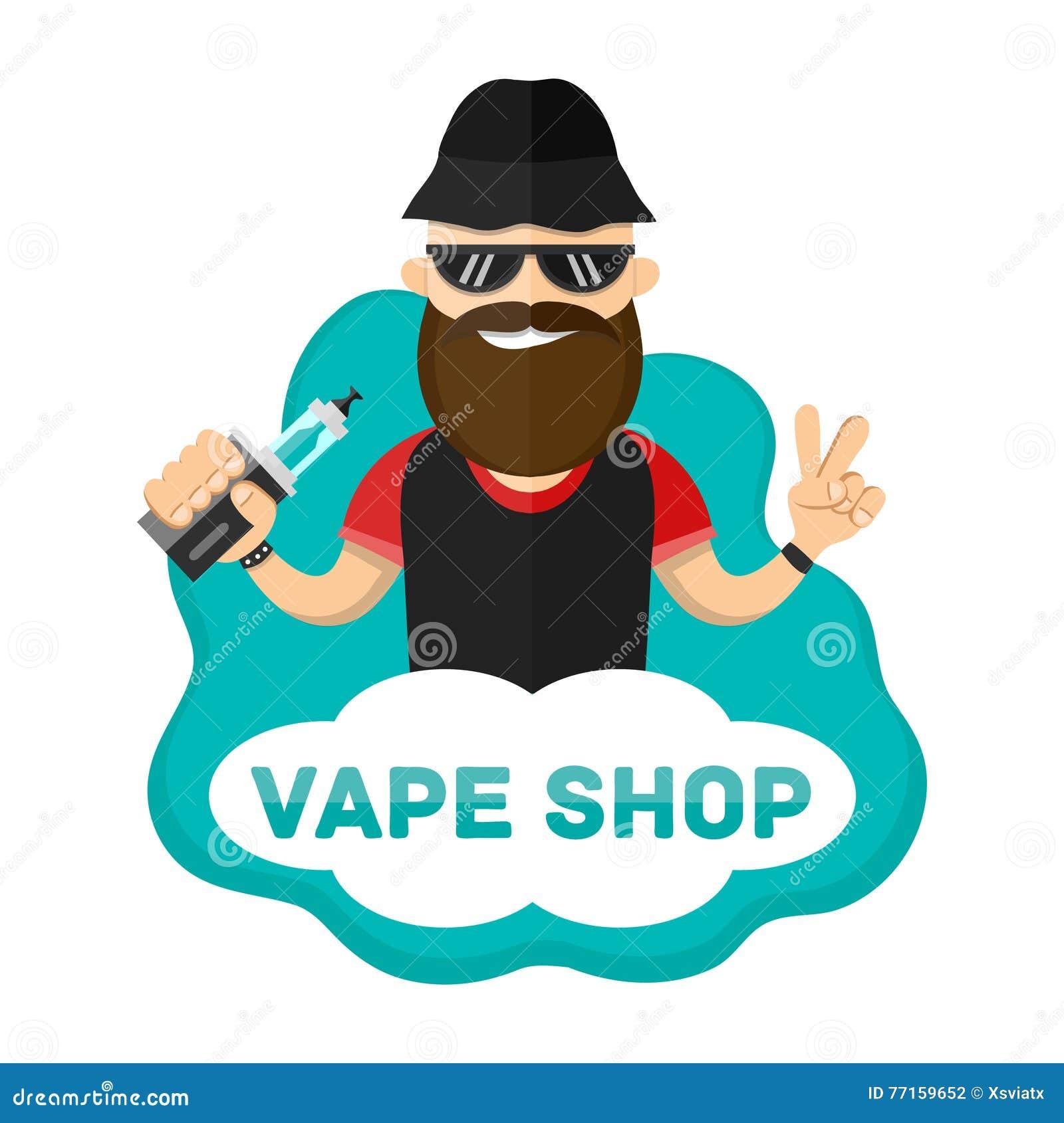 Illustration plate de l homme avec le caractère de vape Logo de boutique de Vape