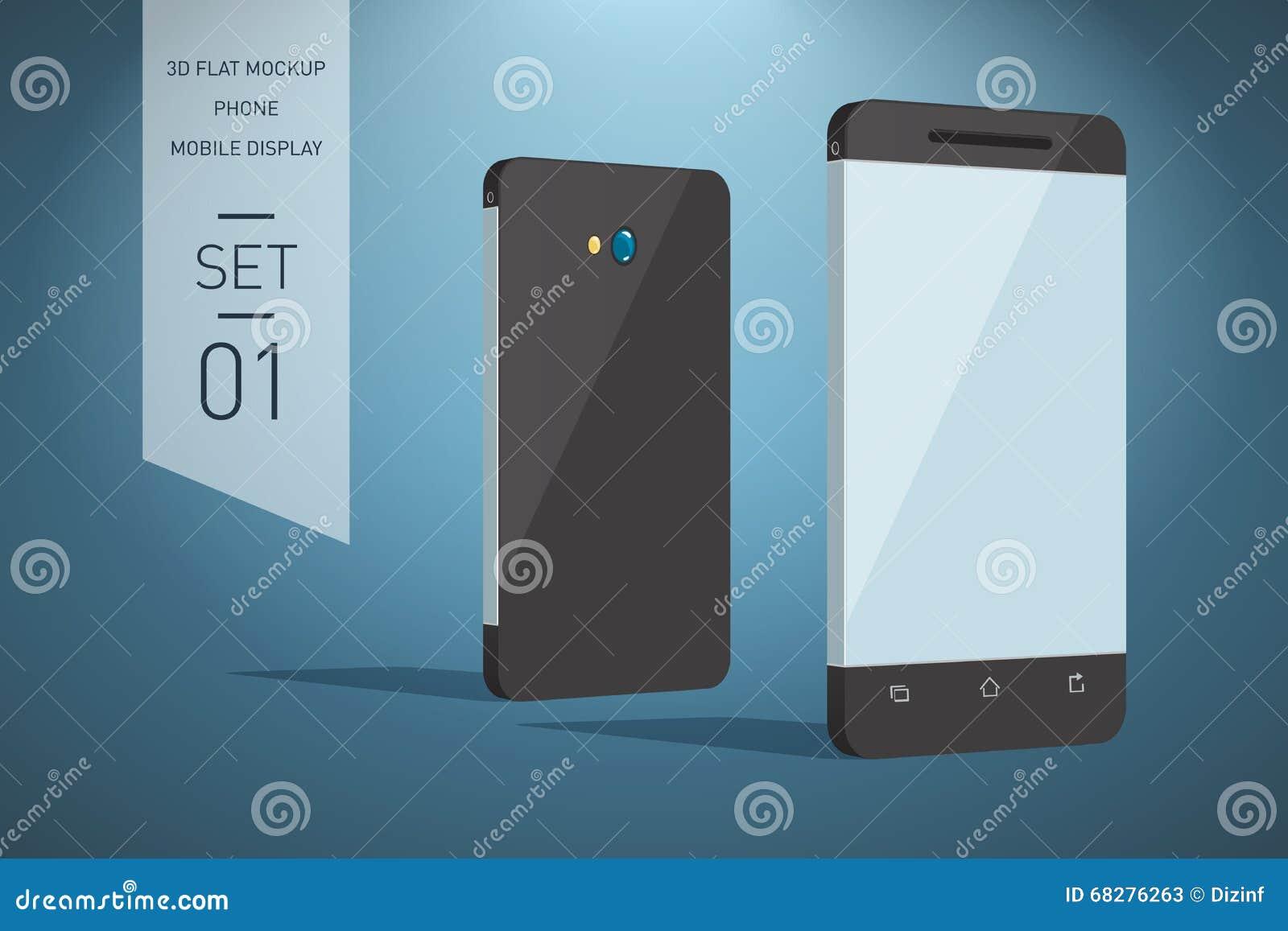 Illustration plate de Minimalistic 3d de téléphone portable perspective v