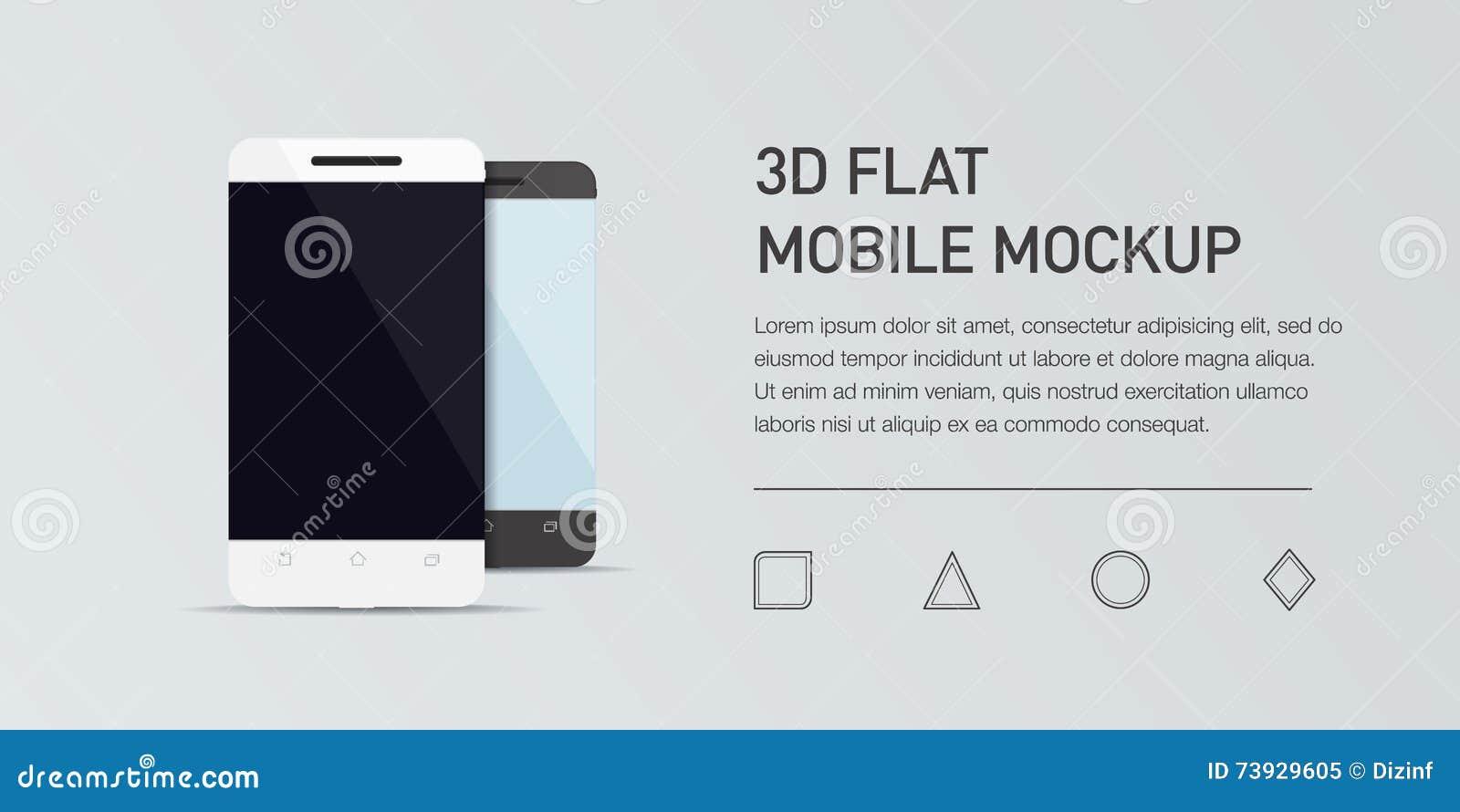 Illustration plate de Minimalistic de téléphone portable Smartphone générique de maquette