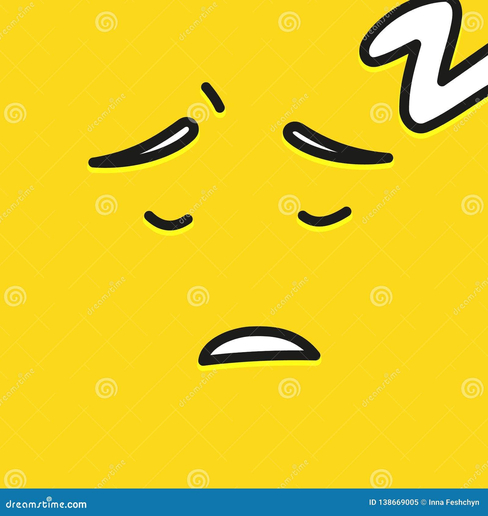 Illustration plate de sourire jaune de vecteur d icône d émotion de personnes d Emoji de sommeil de visage de bande dessinée