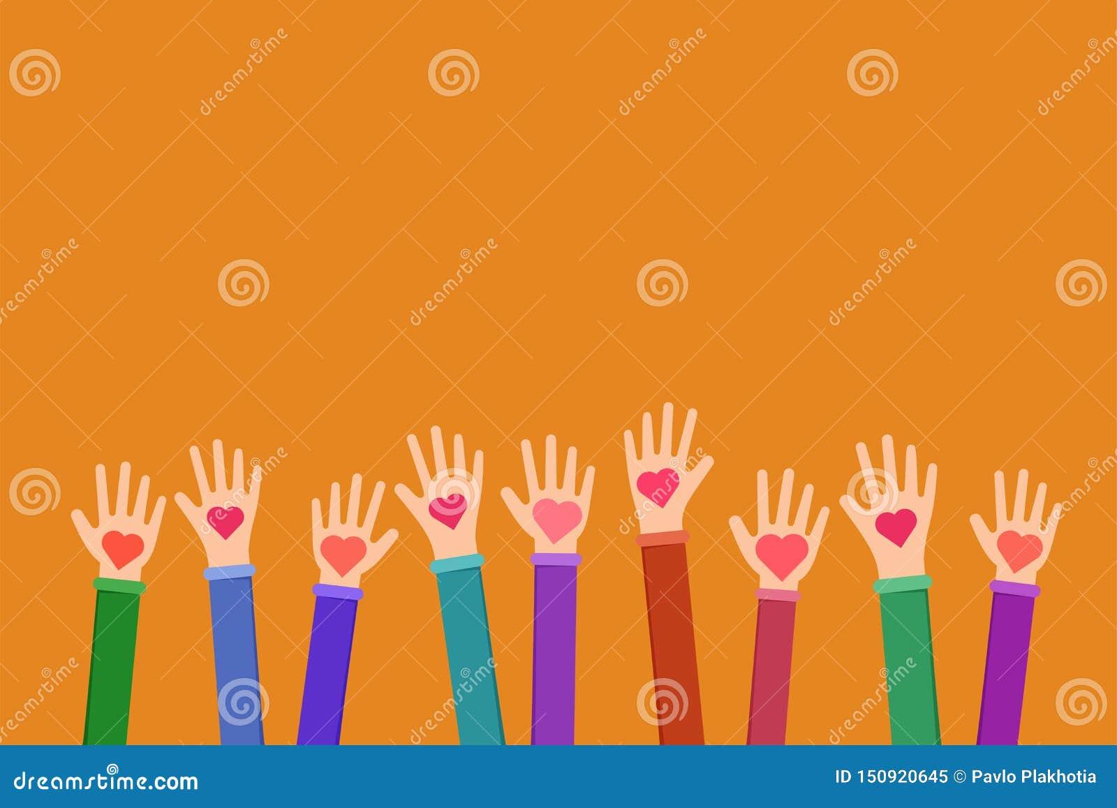 Illustration plate de symbole charitable de travail de la Communauté