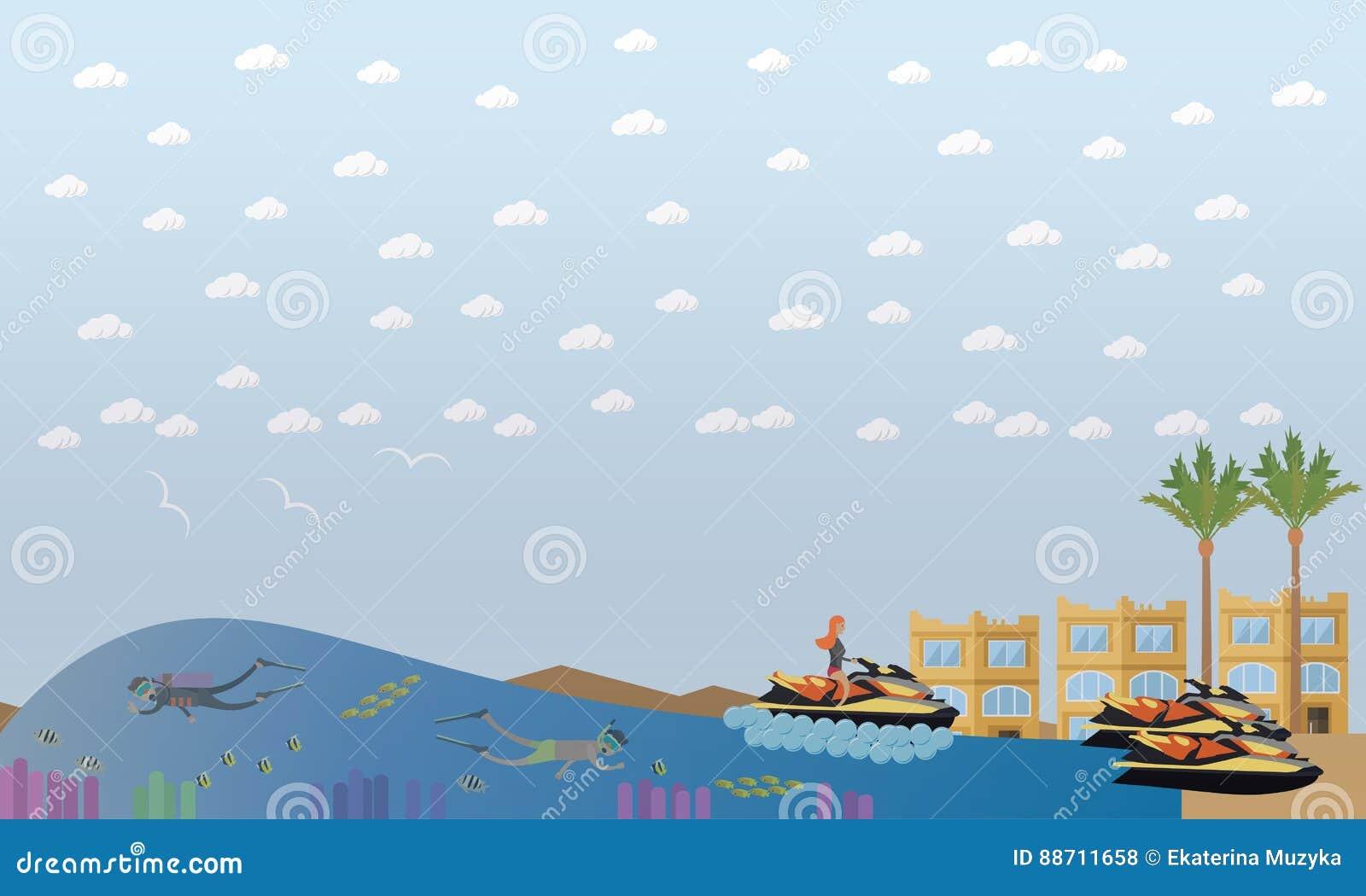 Illustration plate de vecteur de concept de vacances de plage