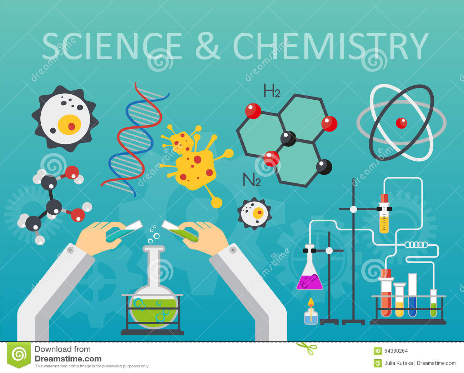 Illustration plate de vecteur de conception de style de la science et technologie chimique de laboratoire Concept de lieu de trav
