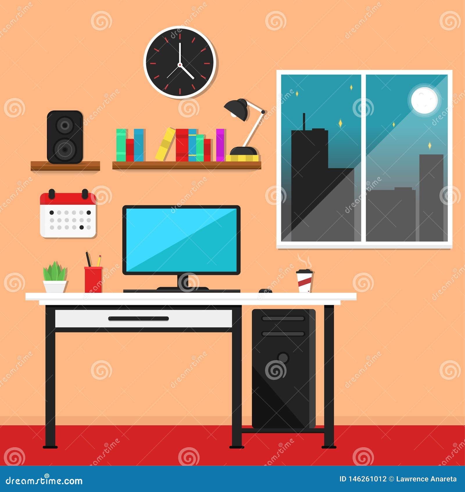 Illustration plate de vecteur de poste de travail
