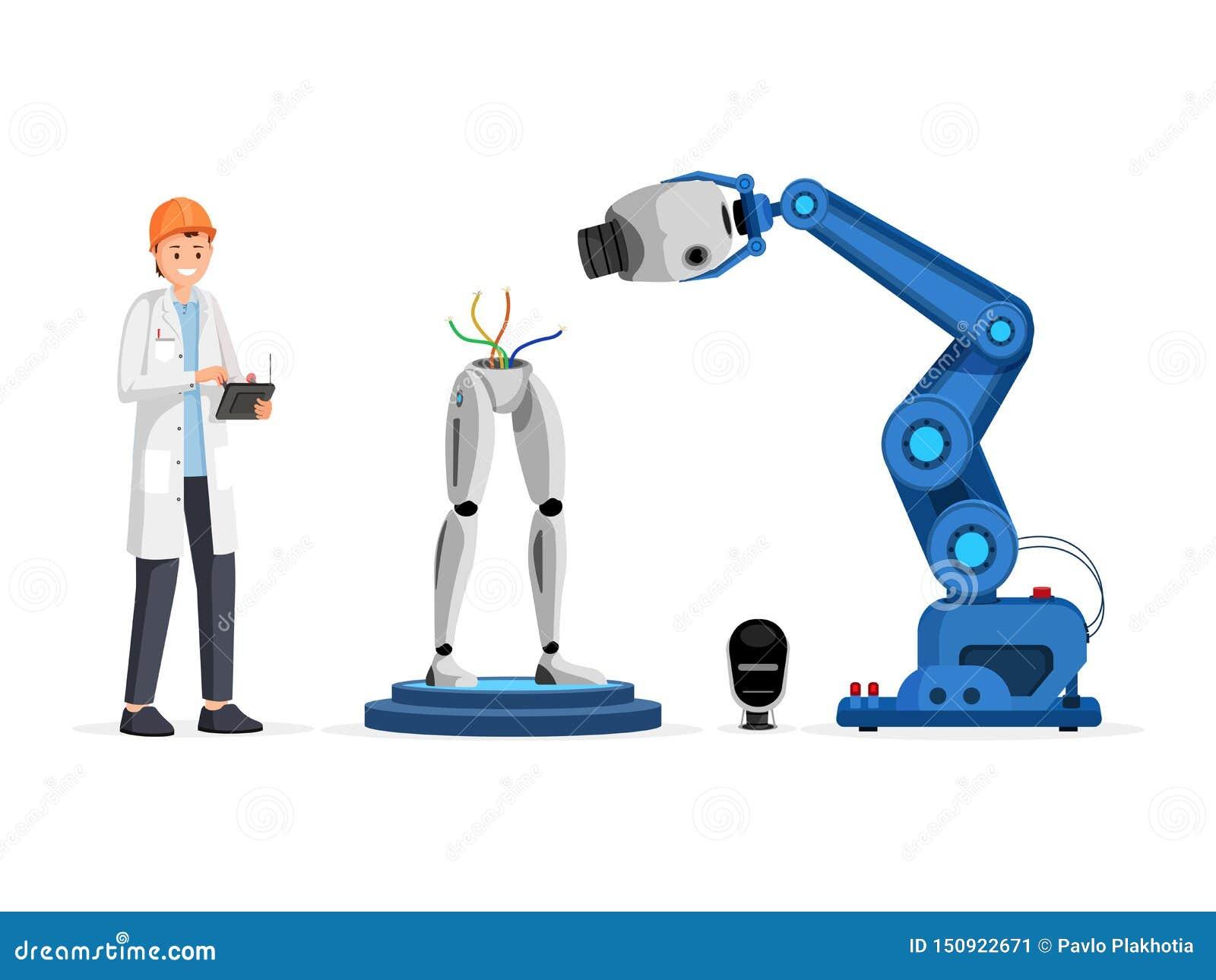 Illustration plate de vecteur de processus d ingénierie de Droid Scientifique de sourire dans la bande dessinée de dispositif de