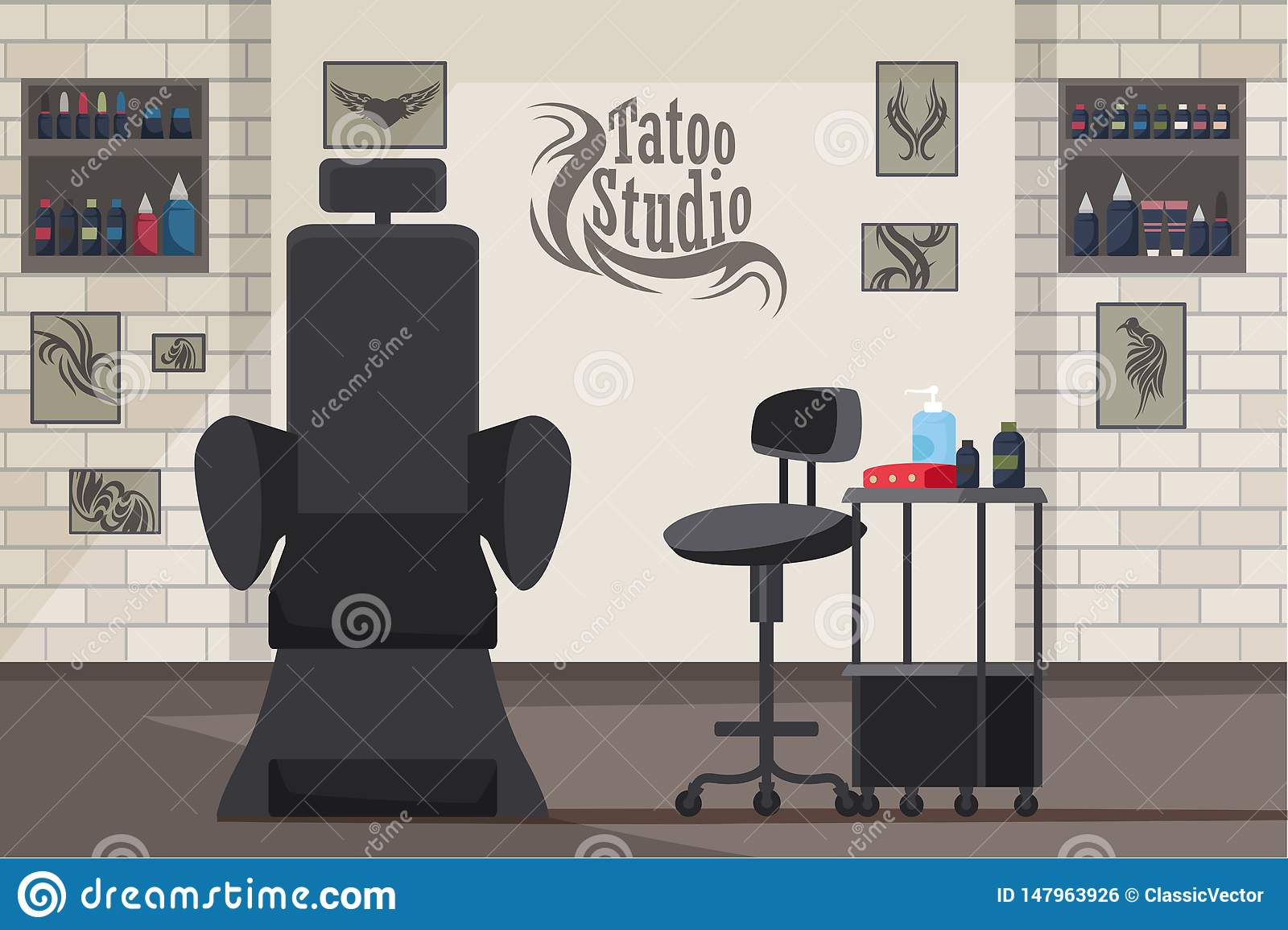 Illustration plate intérieure de vecteur de studio de tatouage