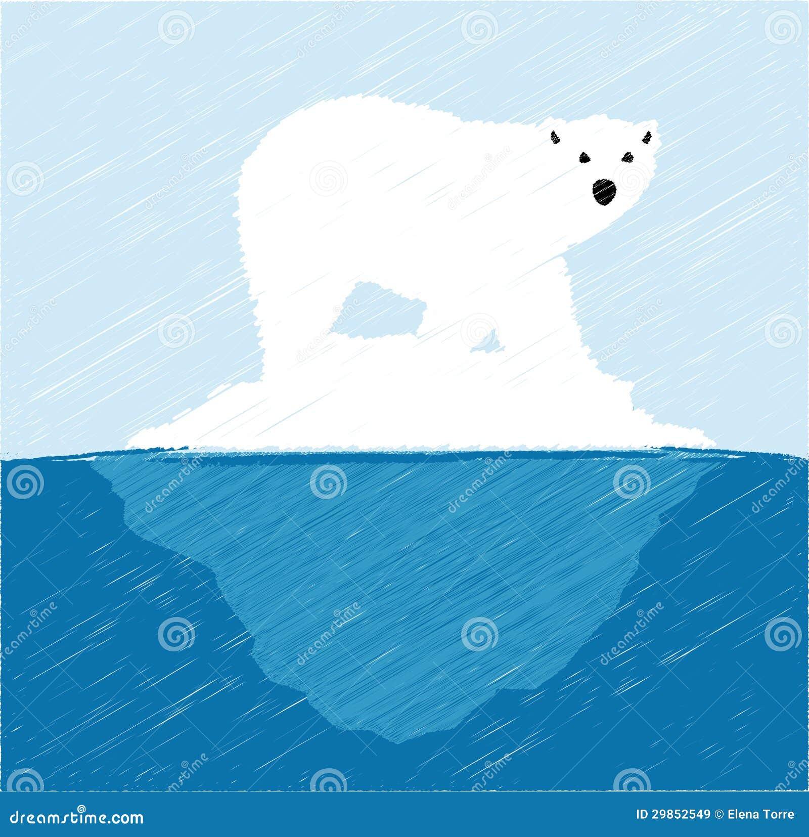 Polar bear on iceberg stock vector. Image of floe, ocean ...